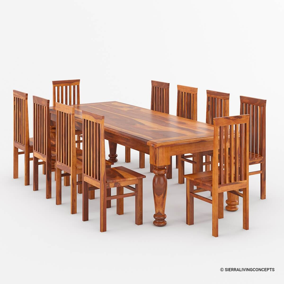 Rustic Furniture Solid Wood Large Dining Table 8 Chair Set: Clermont Rustic Furniture Solid Wood Large Dining Table