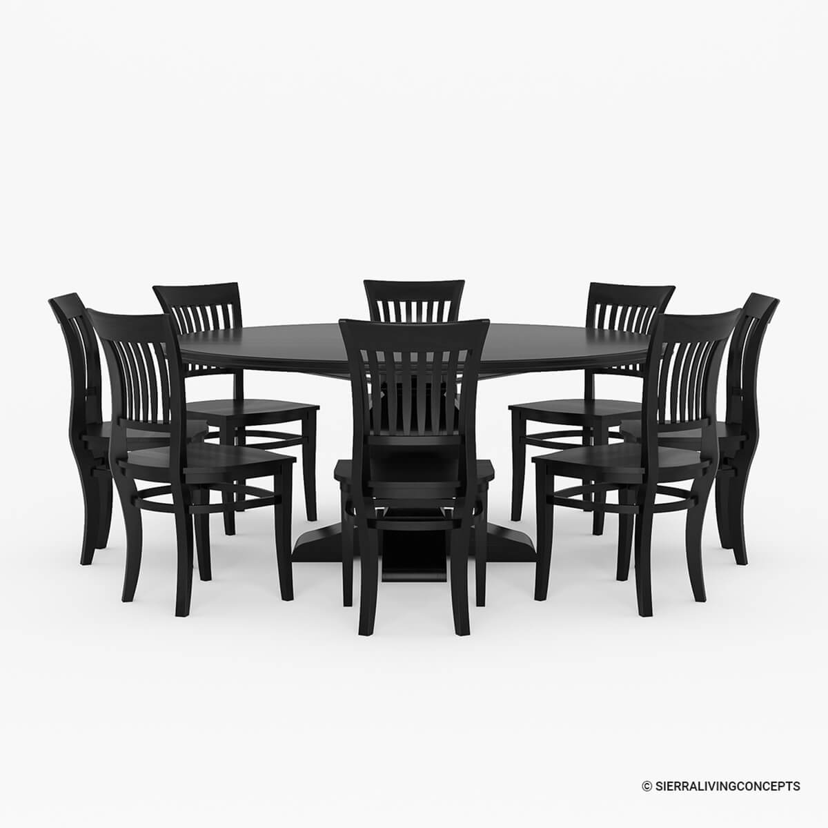 Rustic Solid Wood Large Square Dining Table Chair Set: Sierra Nevada Large Round Rustic Solid Wood Dining Table