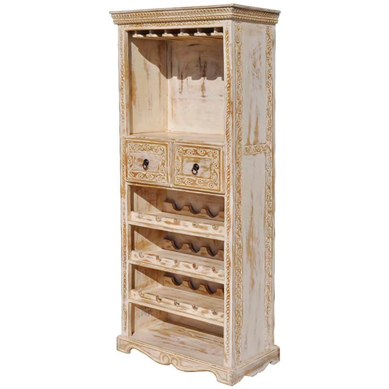 Luckey Whitewash Mango Wood Hand Carved Tall Wine Bar Cabinet