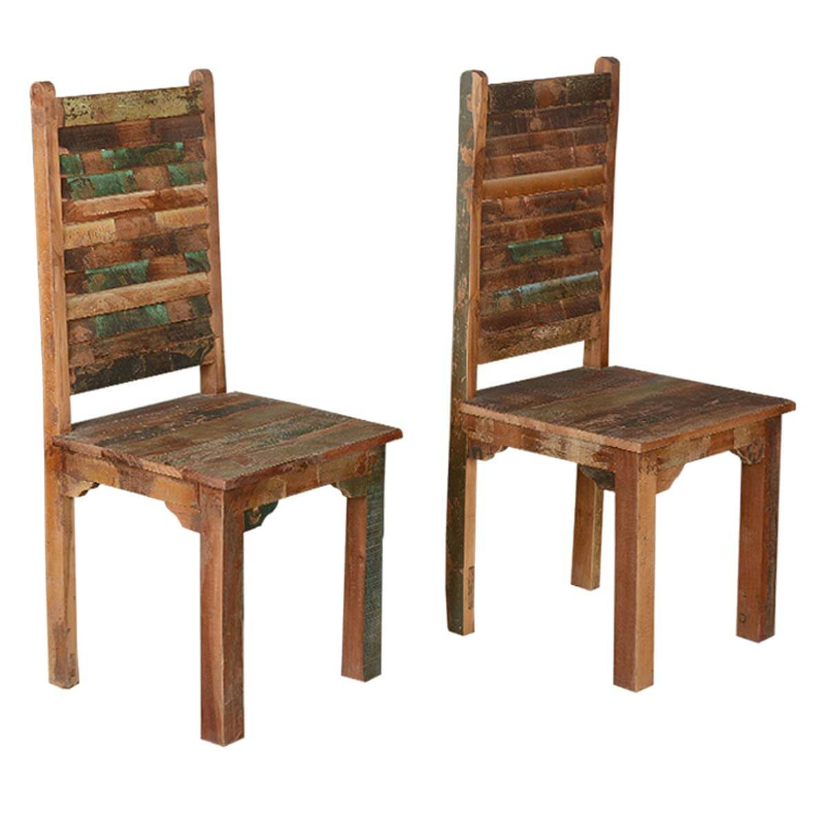Rustic Distressed Reclaimed Wood Multi Color Dining Chairs Set of 2