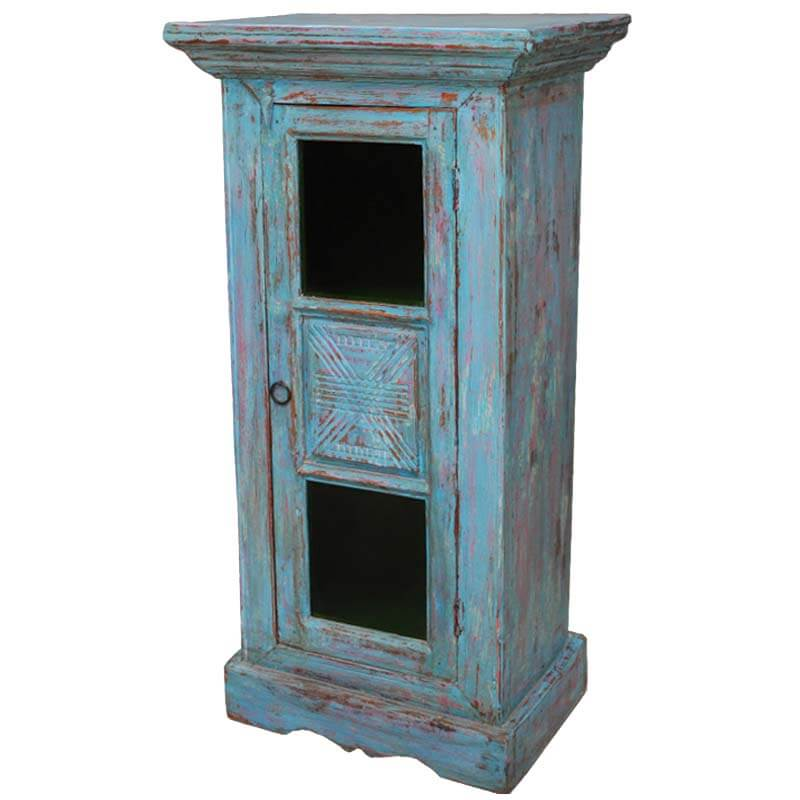 Stourton Rustic Hand Painted Teak Wood Mini Tower Storage Cabinet