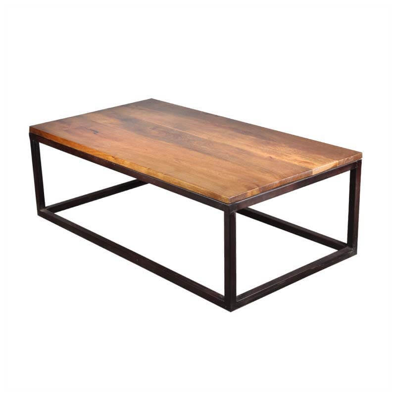 Iron Mango Wood 52 Long Industrial Coffee Table