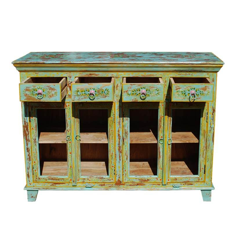 Oklahoma Farmhouse Distressed Solid Wood 4 Drawer Rustic Sideboard