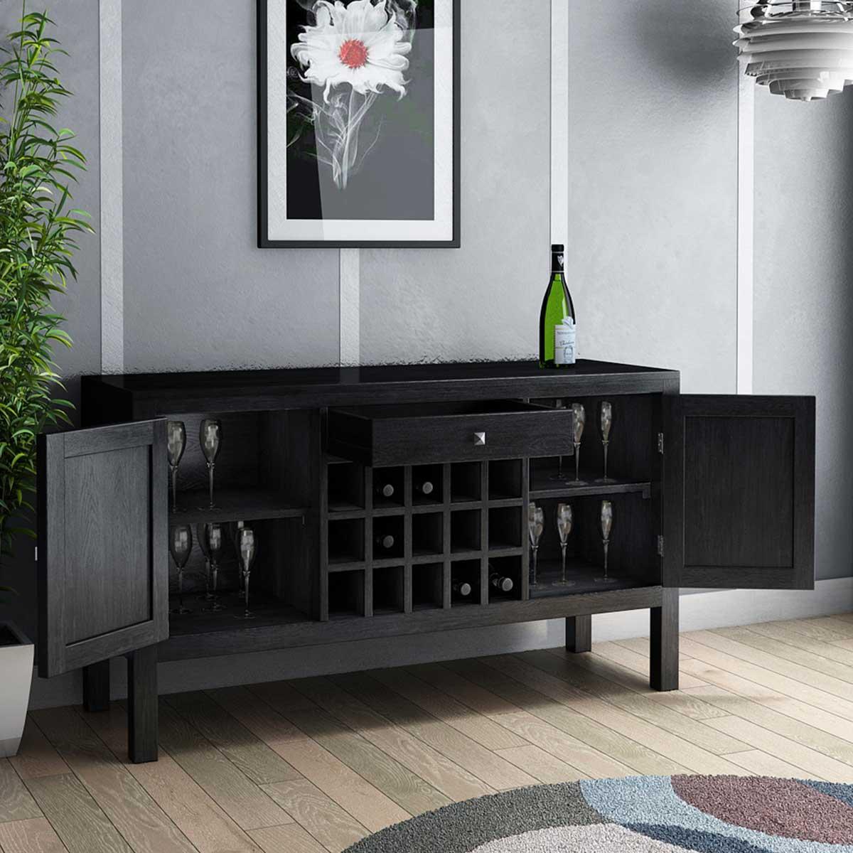 Kansas City Solid Wood Floor Wine Bar Cabinet