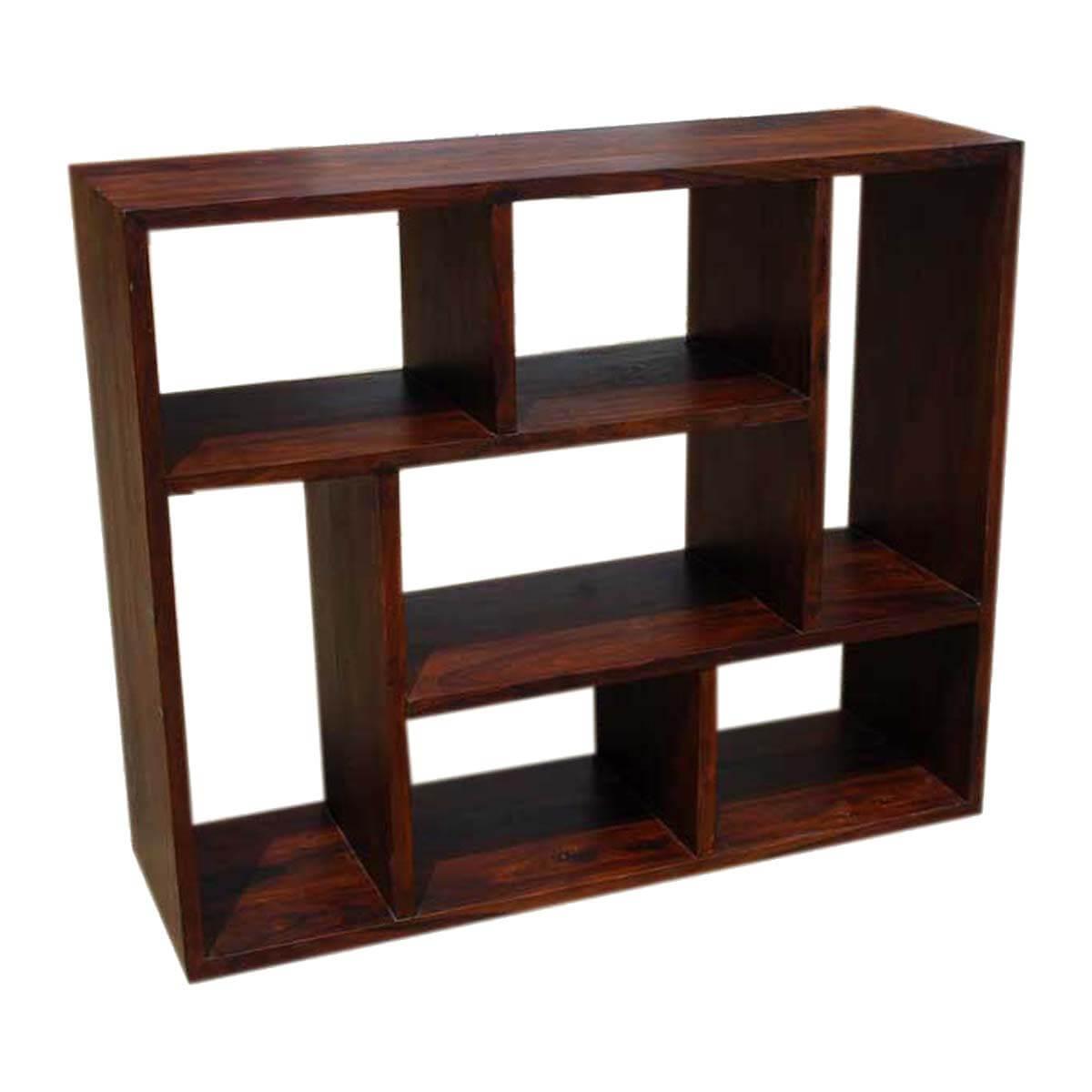 Benicia 7 Open Shelf Solid Wood Home Office Geometric Bookcase