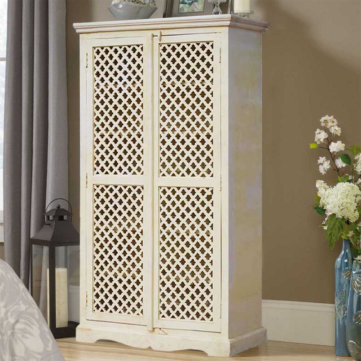 Farmhouse White Lattice Door Solid Wood Tall Storage Cabinet Armoire