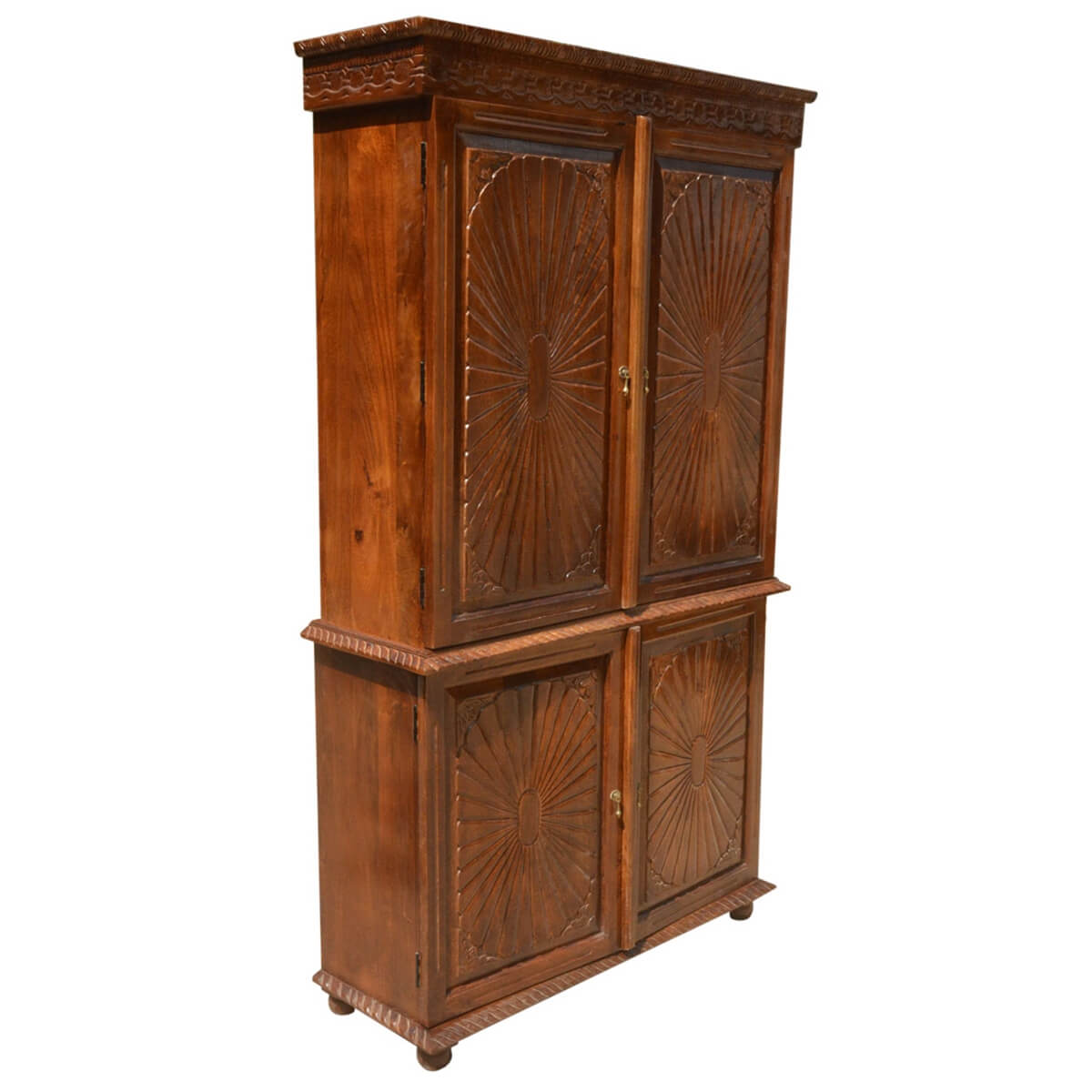 Sierra Large Rustic Solid Wood TV Media Armoire Cabinet ...