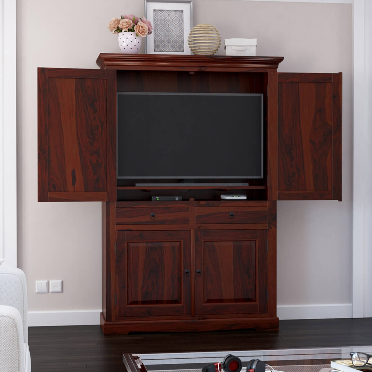 Rossford 4 Door Solid Wood Rustic Large TV Armoire Cabinet ...