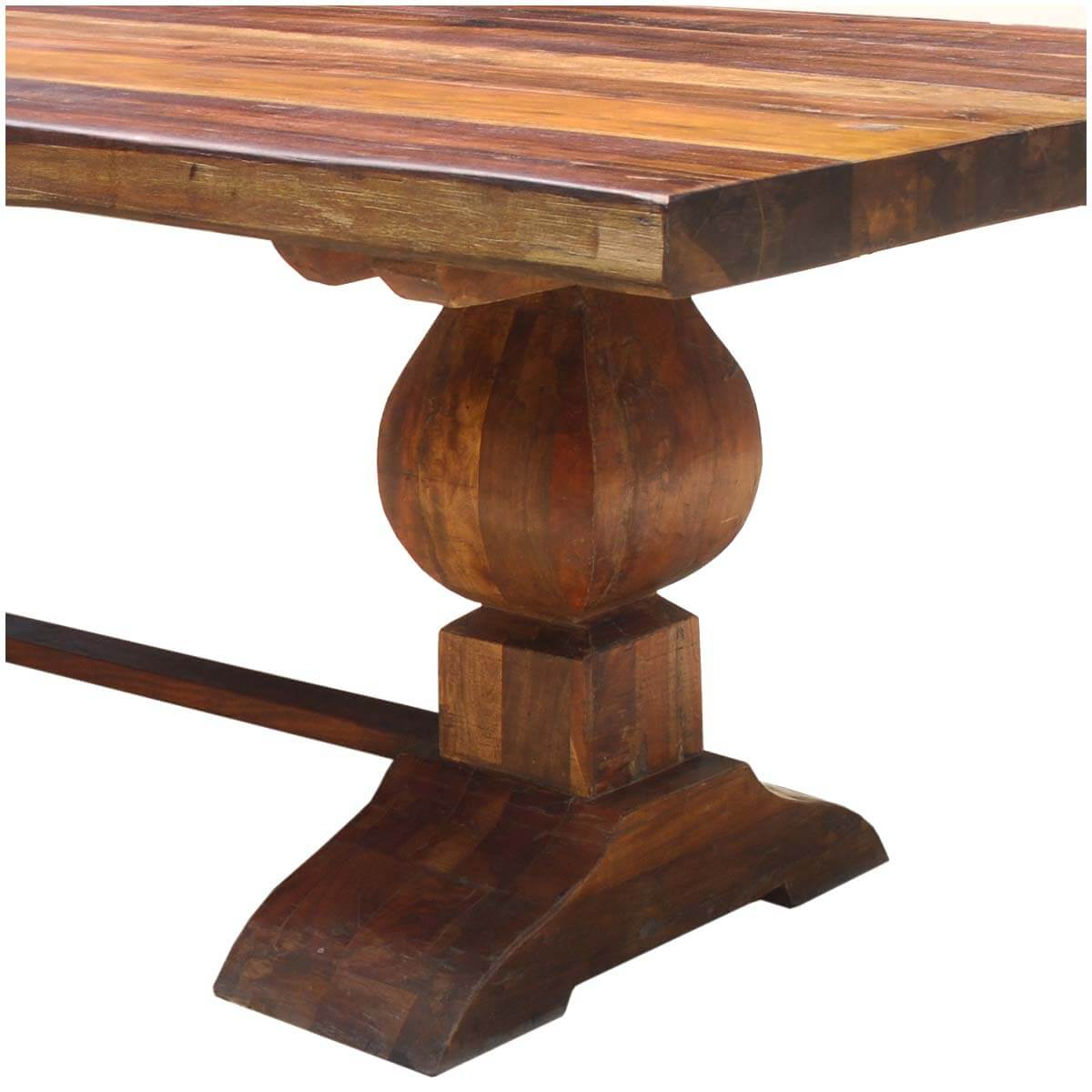 Trestle Dining Room Table: Large Rustic Reclaimed Wood Double Trestle Pedestal Dining