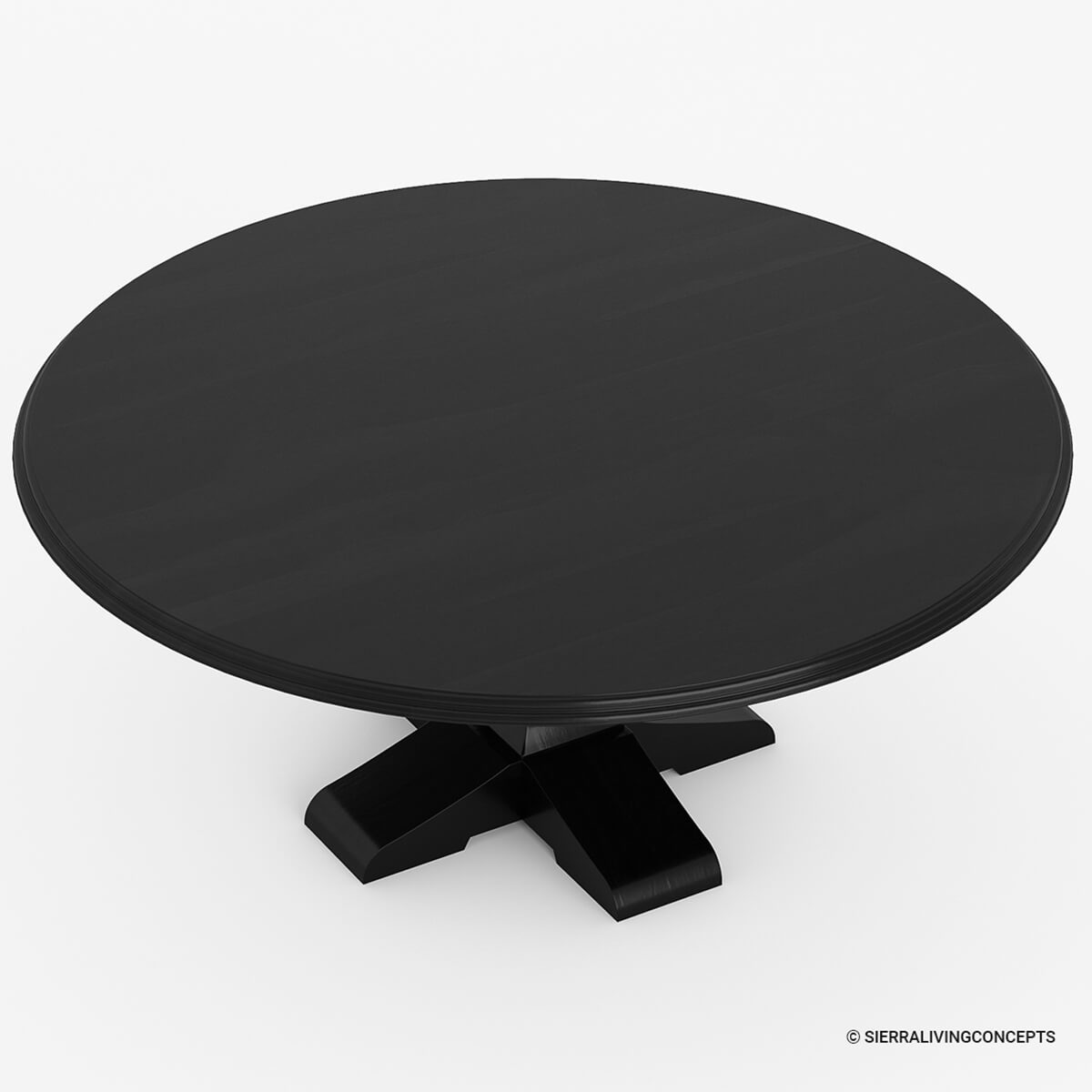 Round Solid Wood Dining Table: Sierra Nevada Rustic Solid Wood Large Round Dining Table