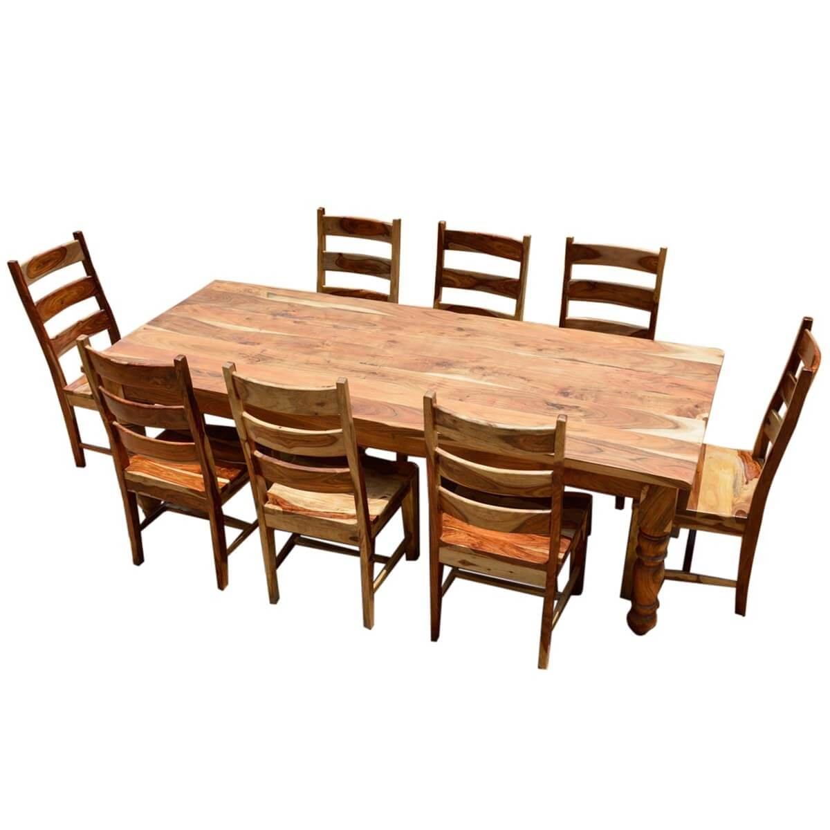 Nottingham Solid Wood Large Rustic Dining Room Table Chair Set: Rustic Solid Wood Farmhouse Dining Room Table Chair Set