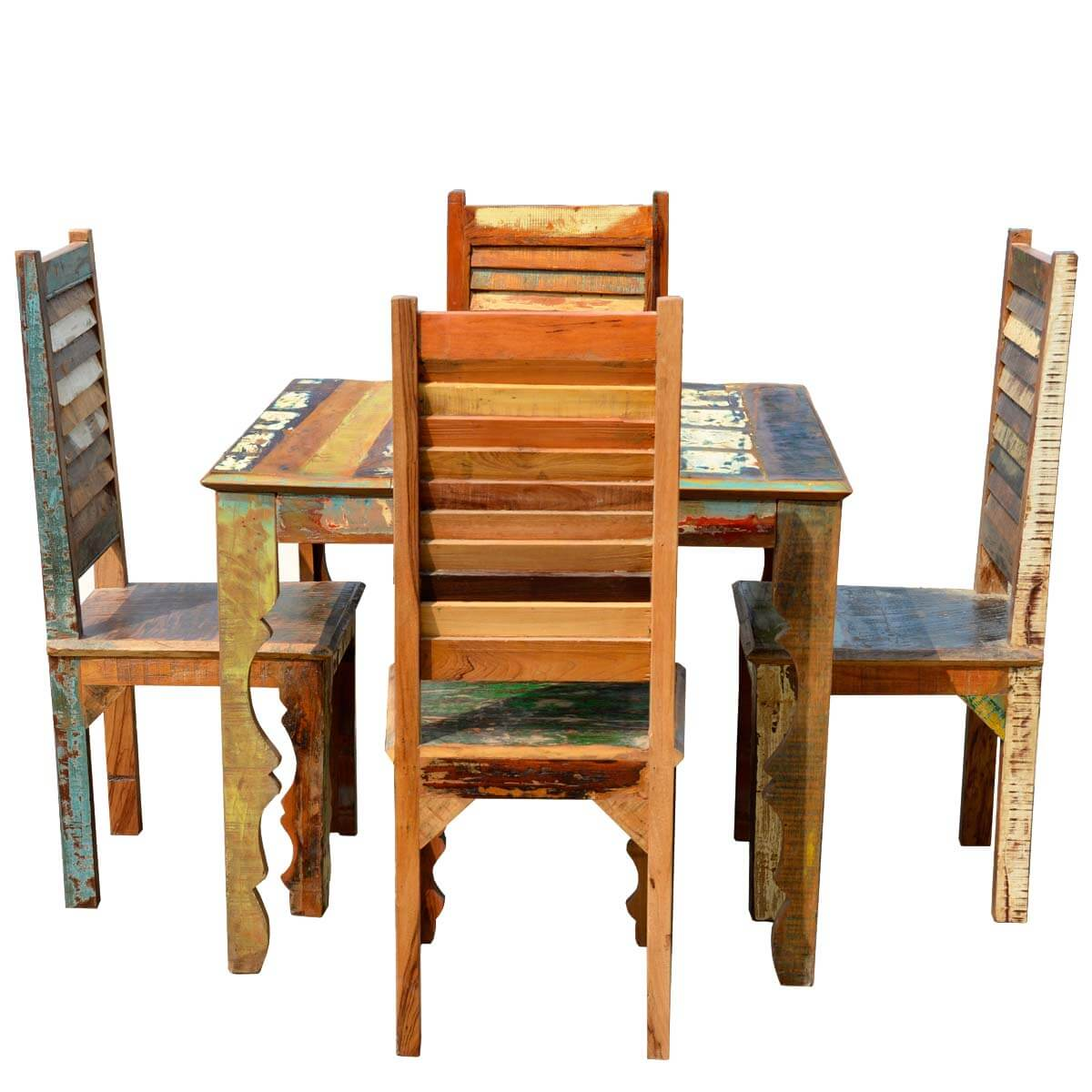 Rustic Reclaimed Wood Dining Table W Shutter Back Chairs For 4 People