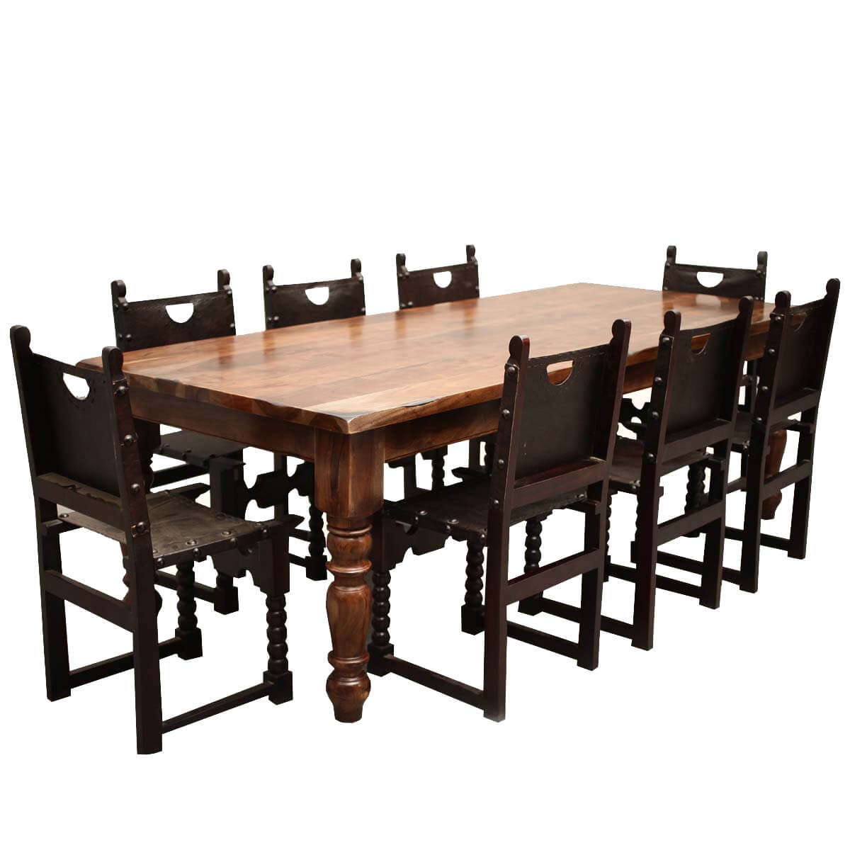 Classic Rustic Acacia & Leather Dining Table Chair Set