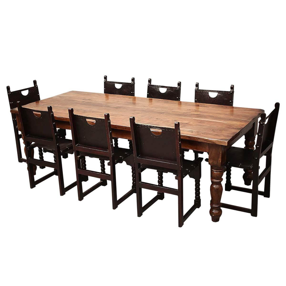 Leather Dining Table: Classic Rustic Acacia & Leather Dining Table Chair Set