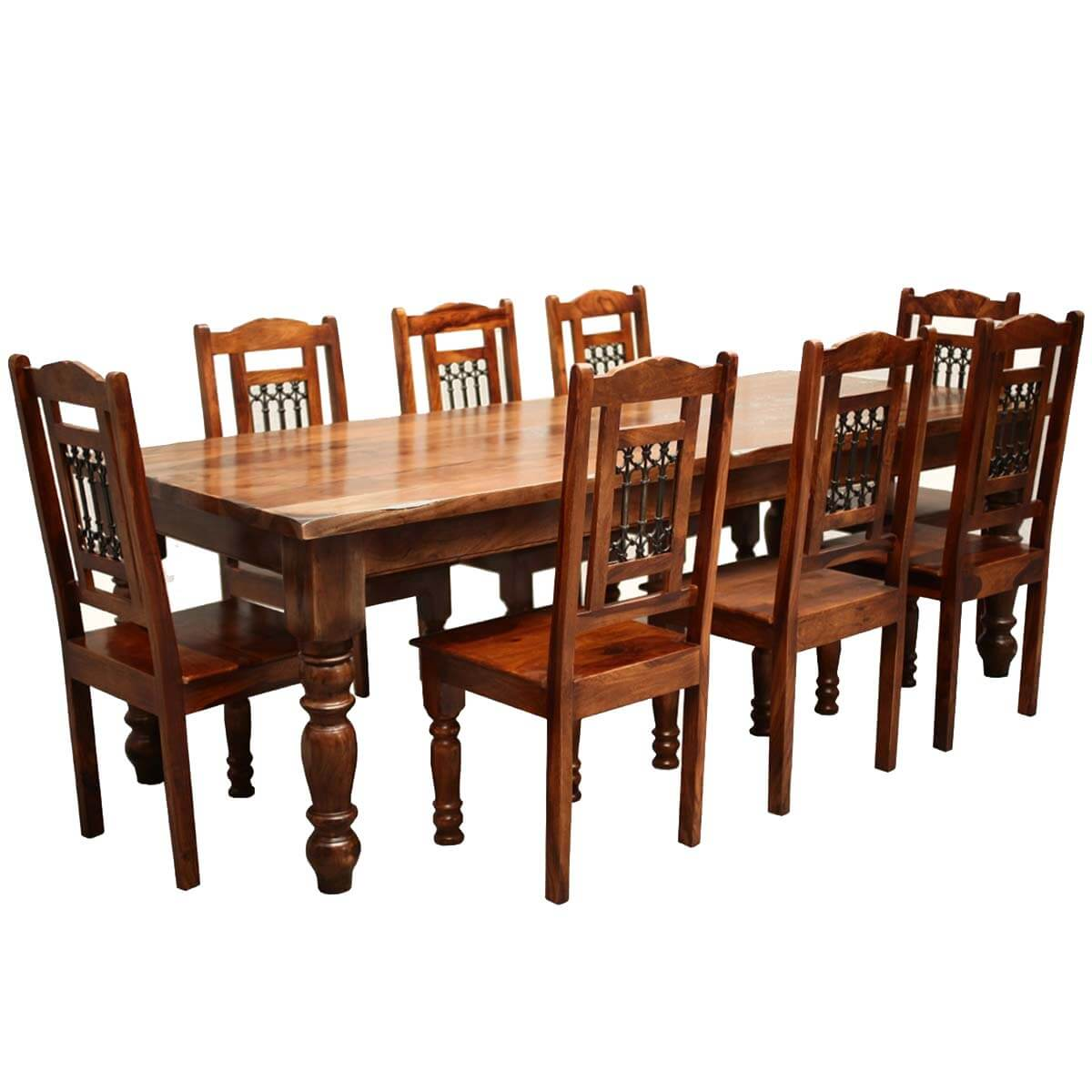 Oak Kitchen Tables And Chairs Sets: Rustic Furniture Solid Wood Large Dining Table & 8 Chair Set