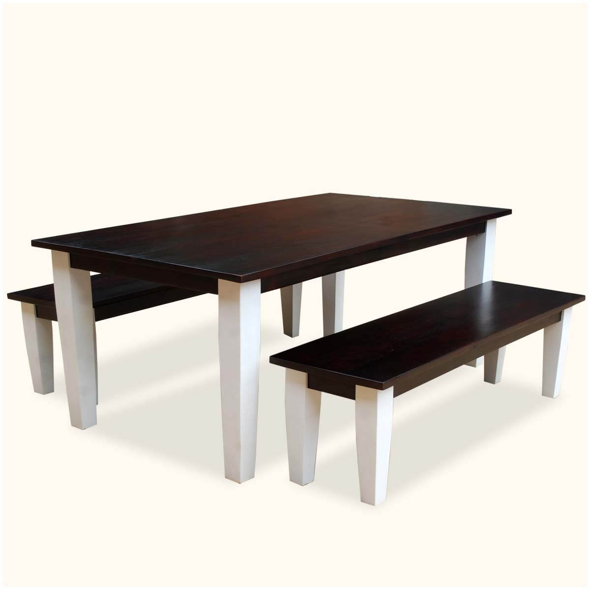 Sierra Contemporary Mango Wood Dining Table & Benches