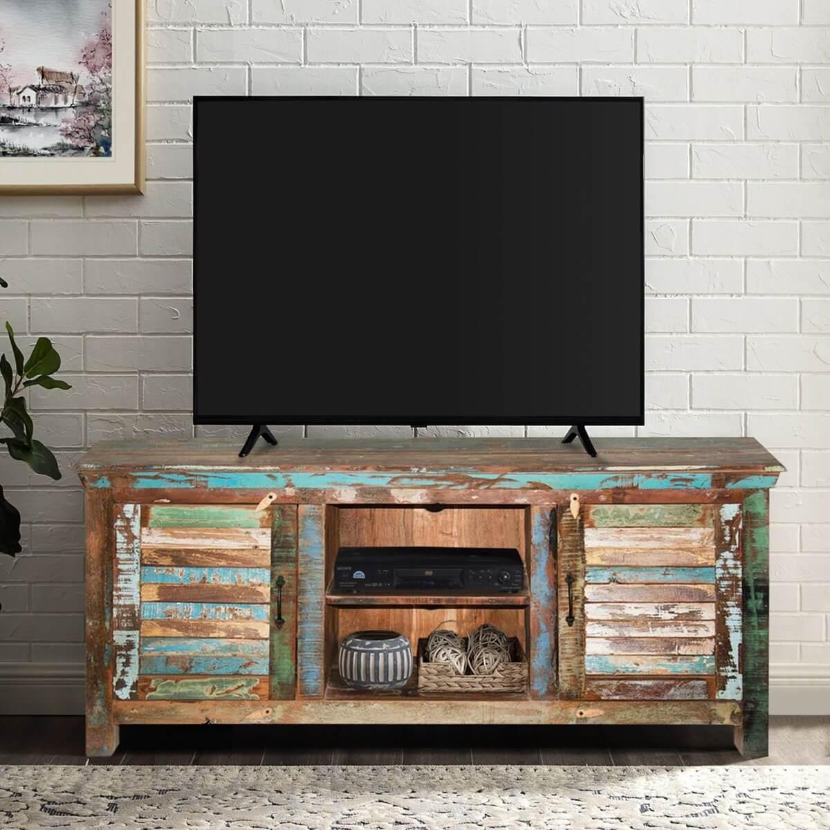 Fenwick Rustic Reclaimed Wood Shutter Door Tv Stand Media Console