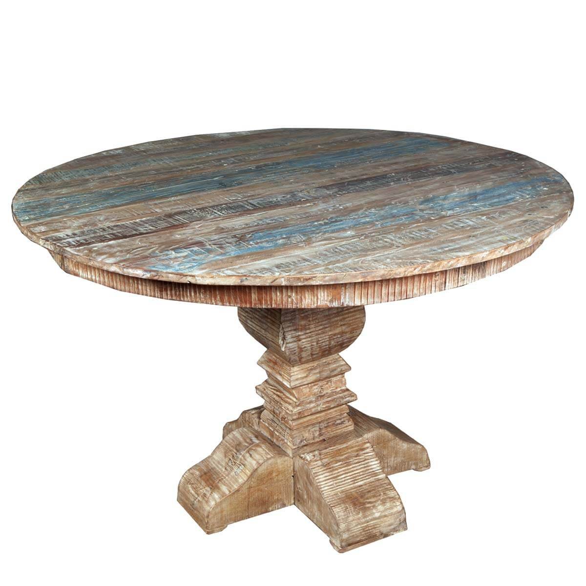 Round Wood Dining Table: French Quarter Rustic Reclaimed Wood Round Dining Table