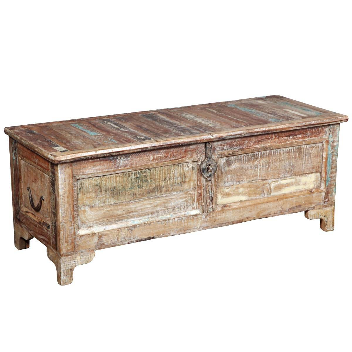 Rustic Reclaimed Wood Storage Standing Coffee Table Chest
