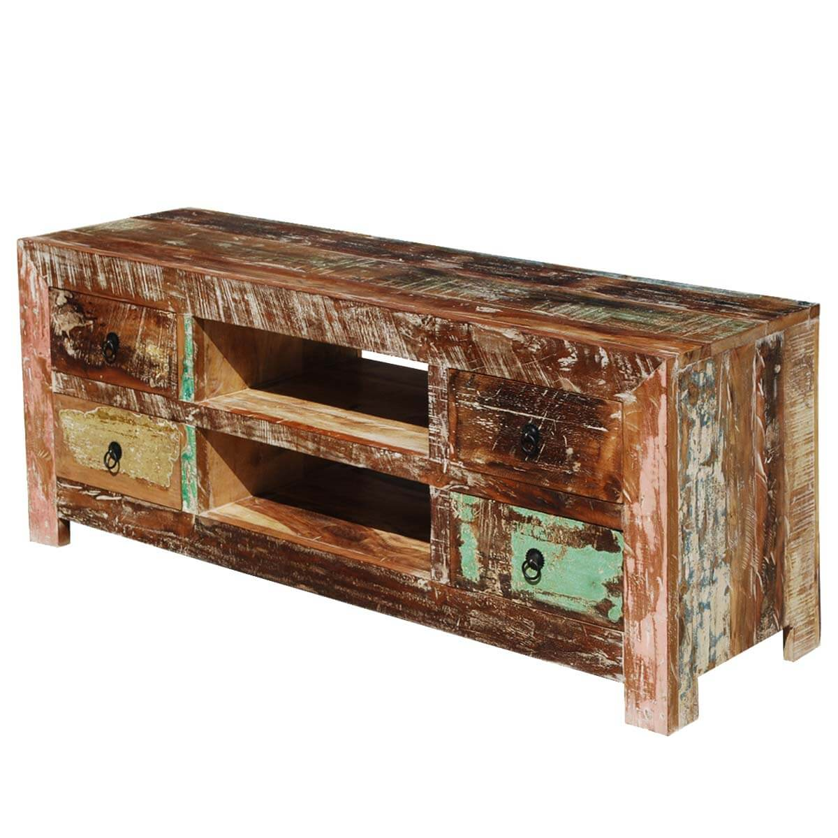 Moultrie Distressed Reclaimed Wood 4 Drawer Rustic Media TV Stand