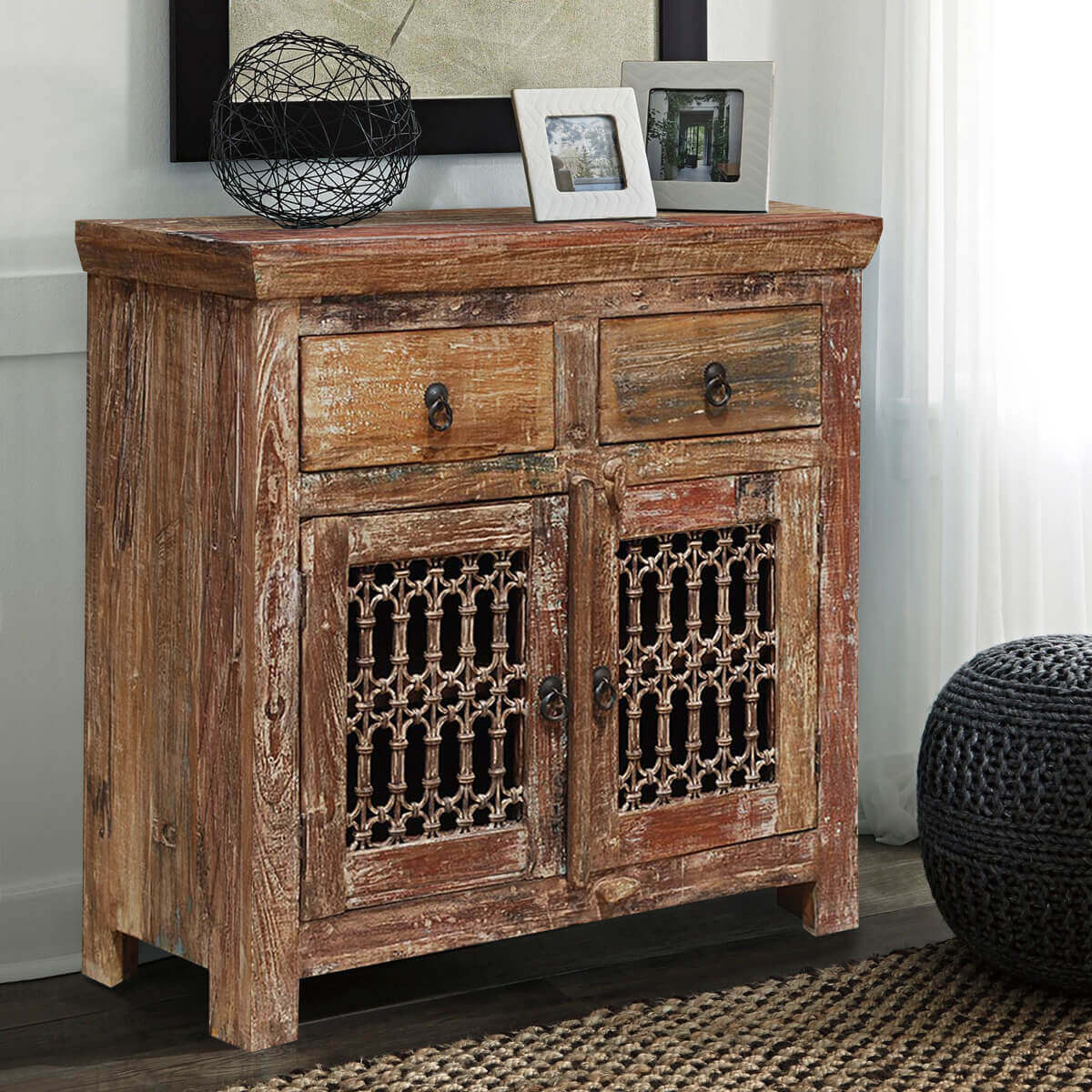 Natoas Rustic Reclaimed Wood Iron Grill Door 2 Drawer Buffet Cabinet