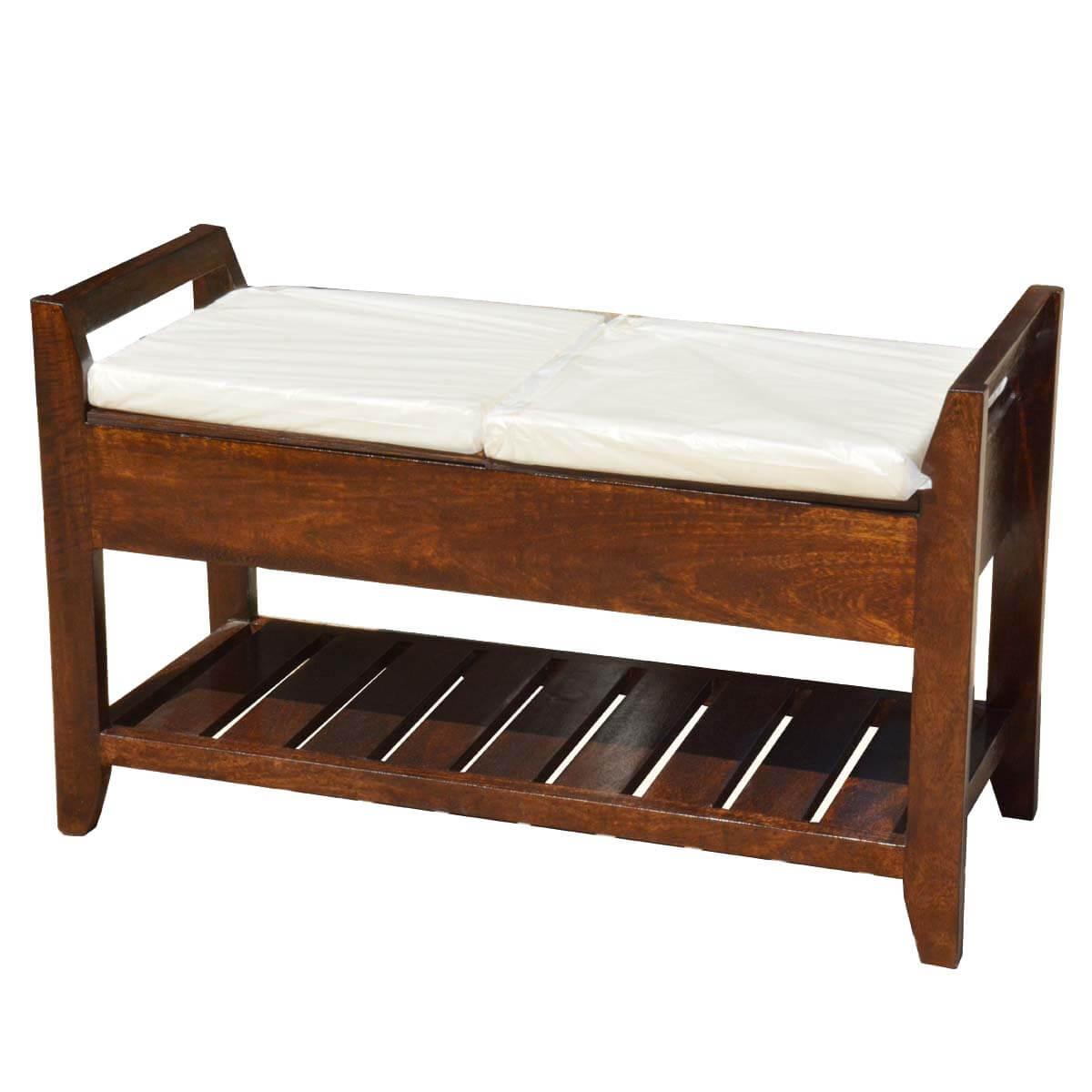 Astonishing Rustic Mission Mango Wood Cushioned Storage Bench W Bottom Rack Uwap Interior Chair Design Uwaporg