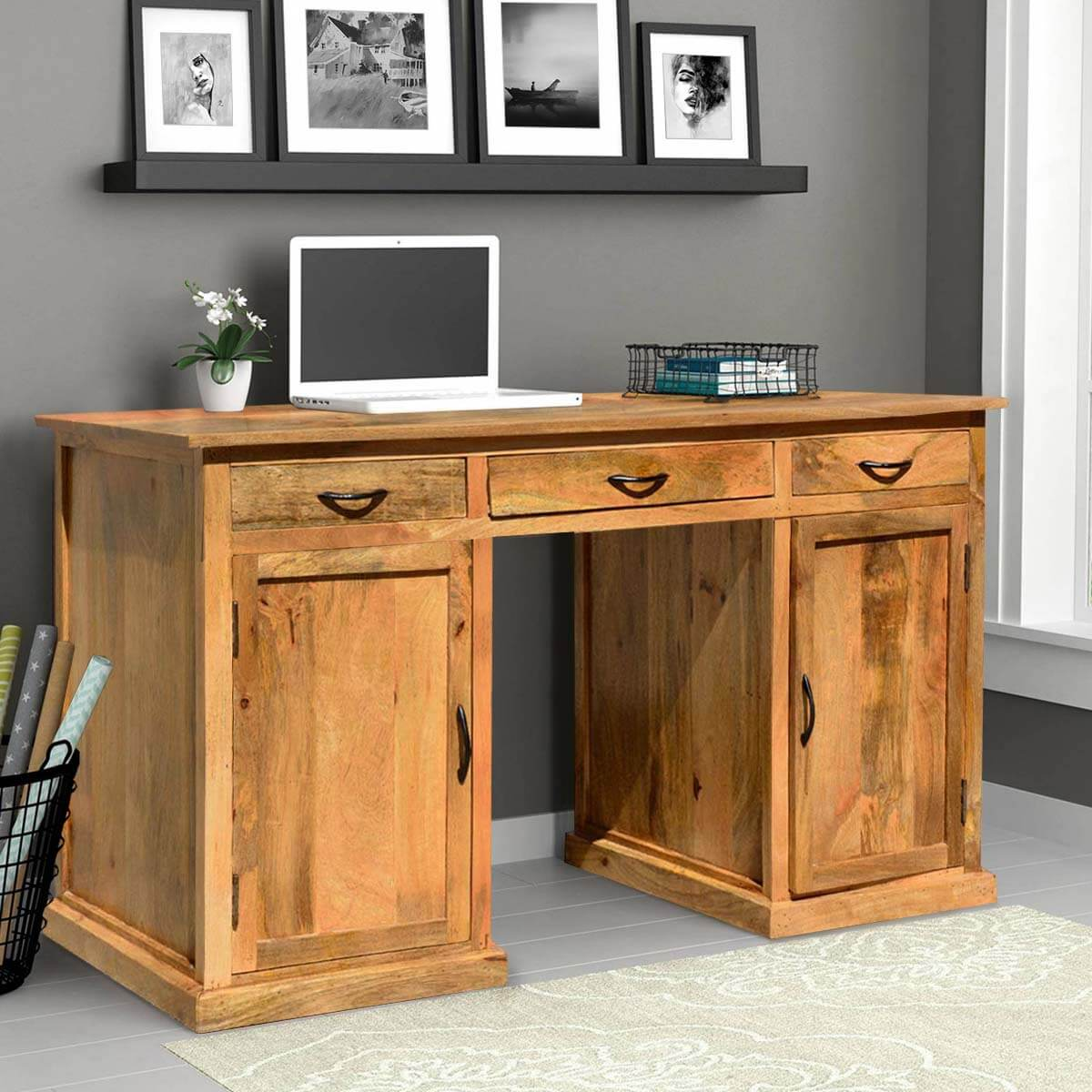 Solid Mango Wood Home Office Computer Desk With Drawers And Cabinets