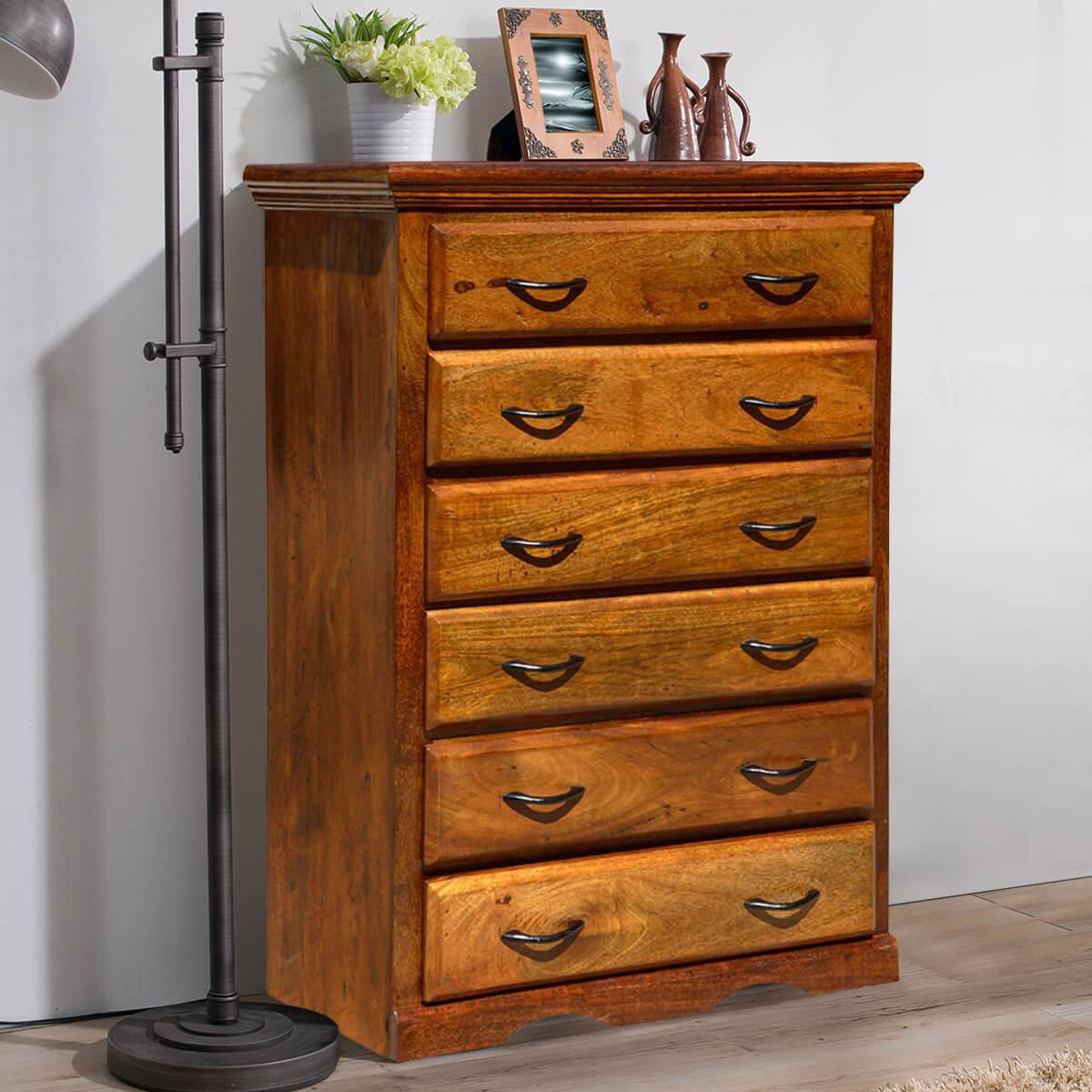 Shaker Solid Mango Wood 6 Drawer Tower Dresser