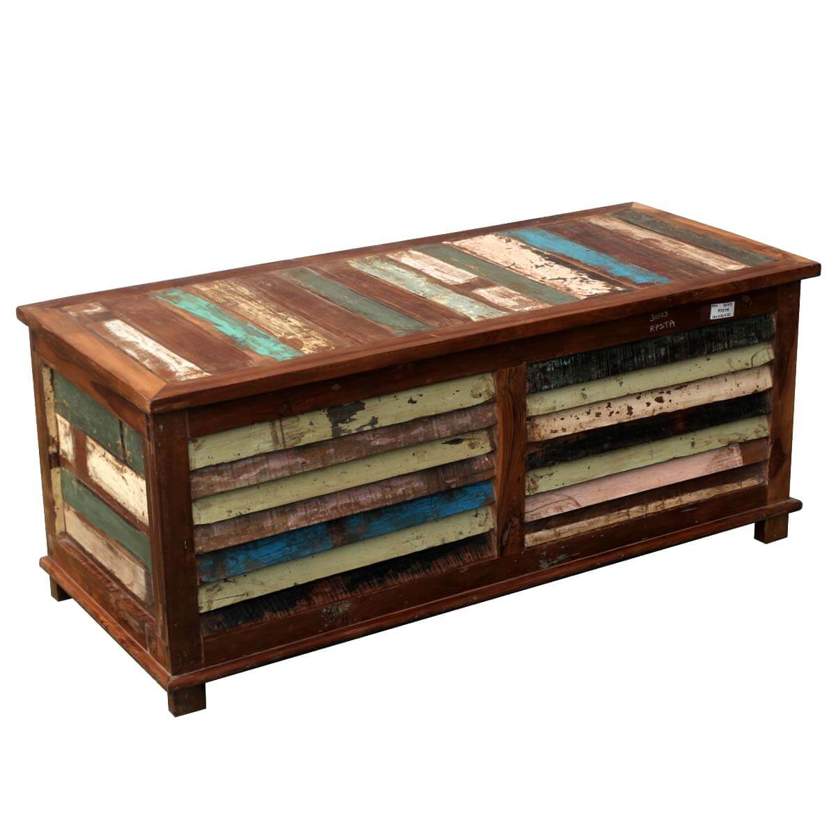 - Rustic Reclaimed Wood Multi-Color Coffee Table Storage Trunk Chest