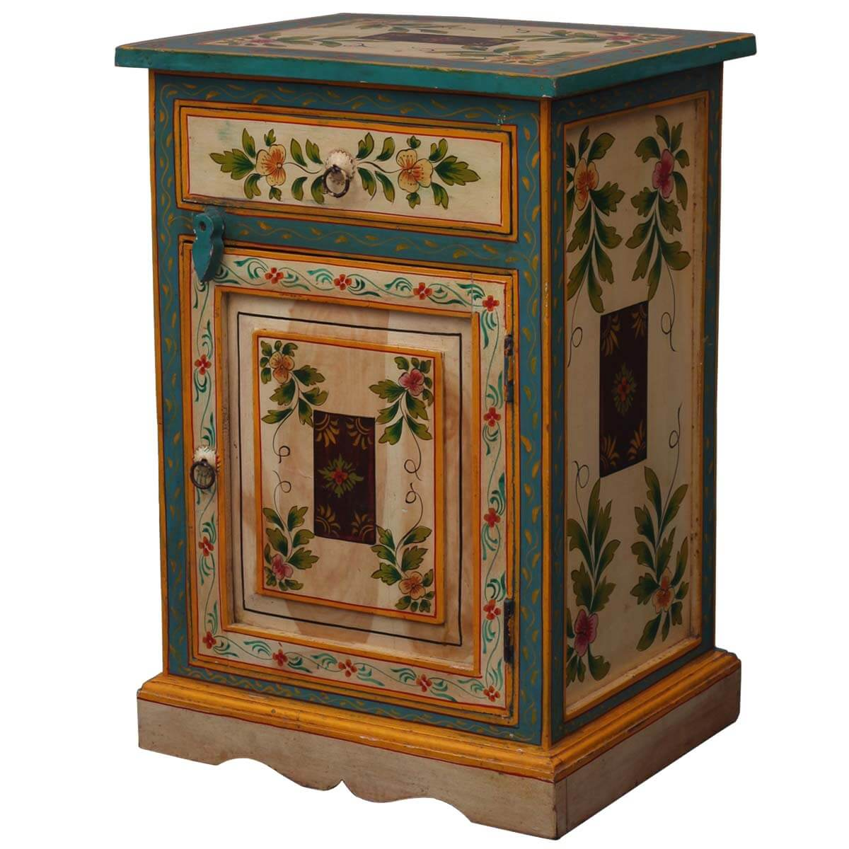 Almelo Hand Painted Floral Solid Wood 1 Drawer Nightstand