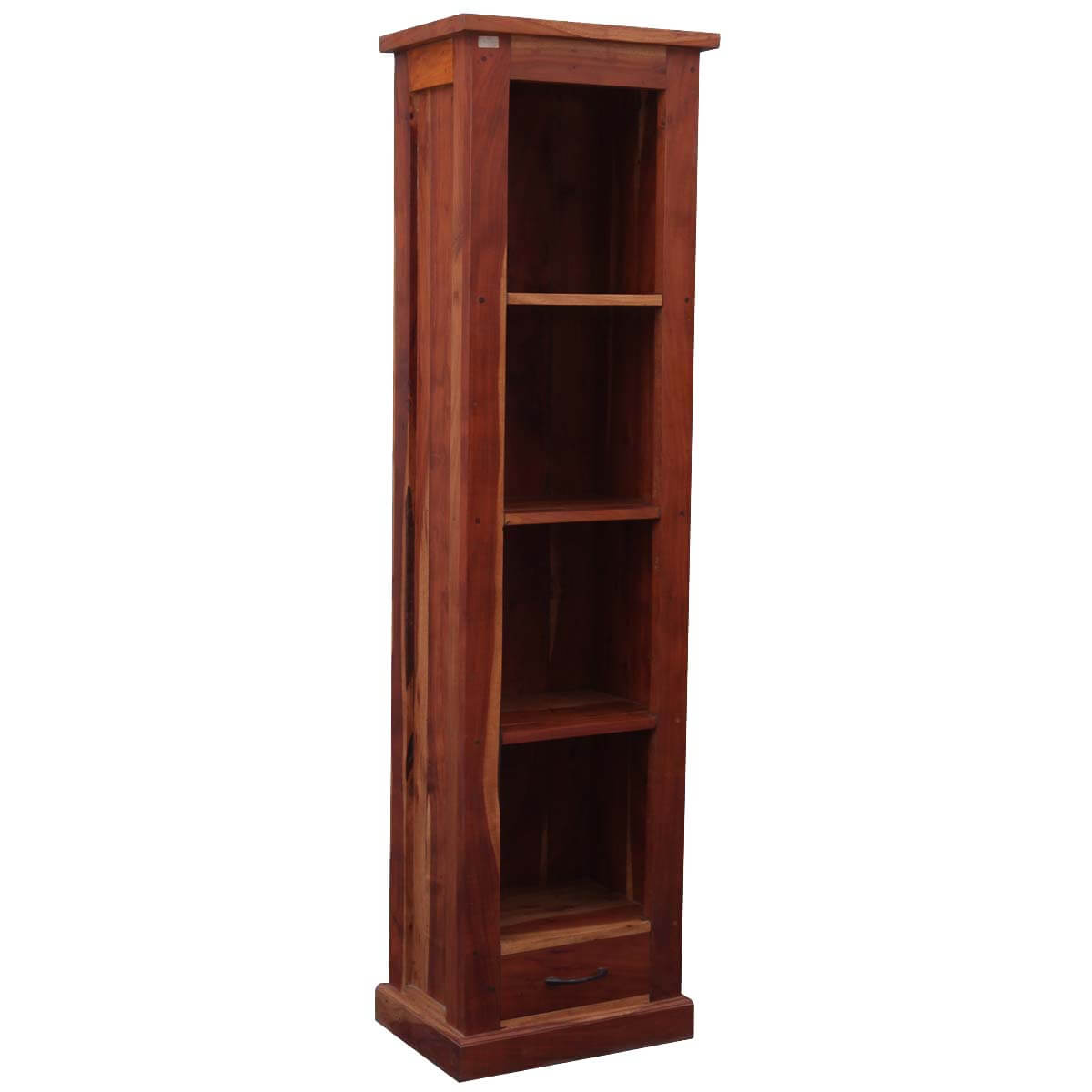 Palma 4 Open Shelf Rustic Solid Wood Tall Narrow Bookcase With Drawers