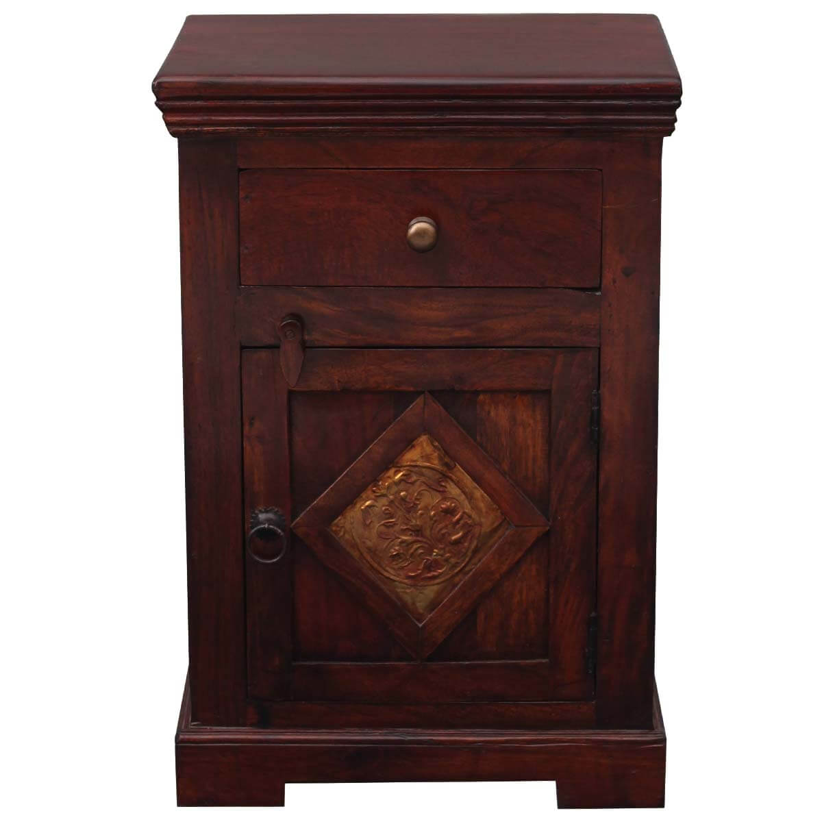 Rahway Medium Handcrafted Rustic Solid Wood 1 Drawer Nightstand