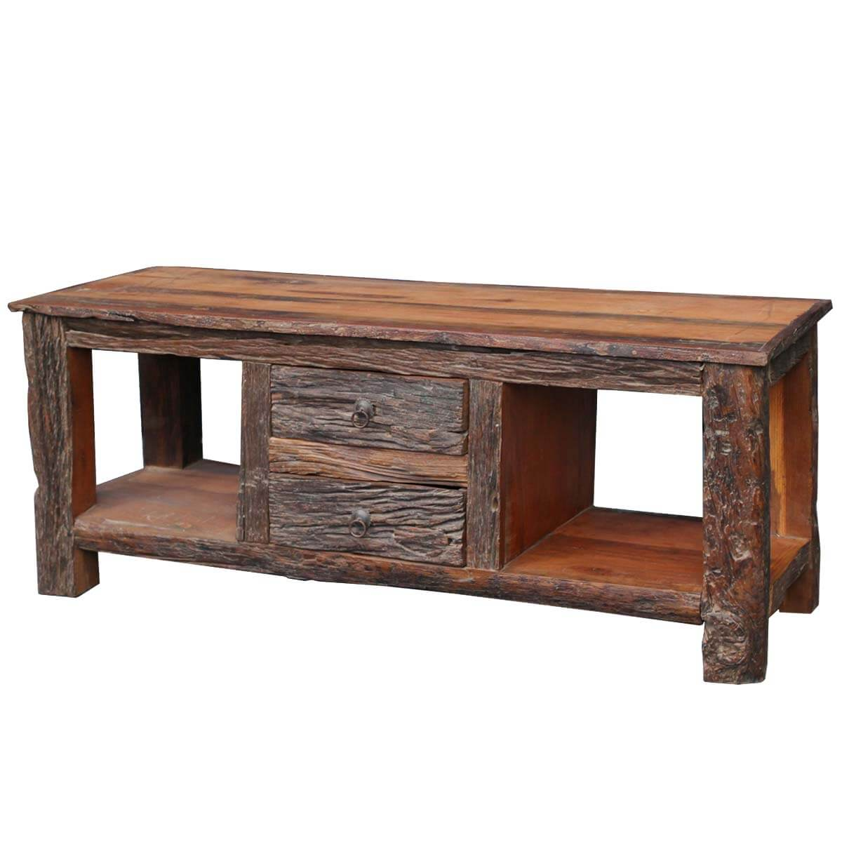 Malverne Rustic Bark Railroad Reclaimed Wood TV Media Console Table