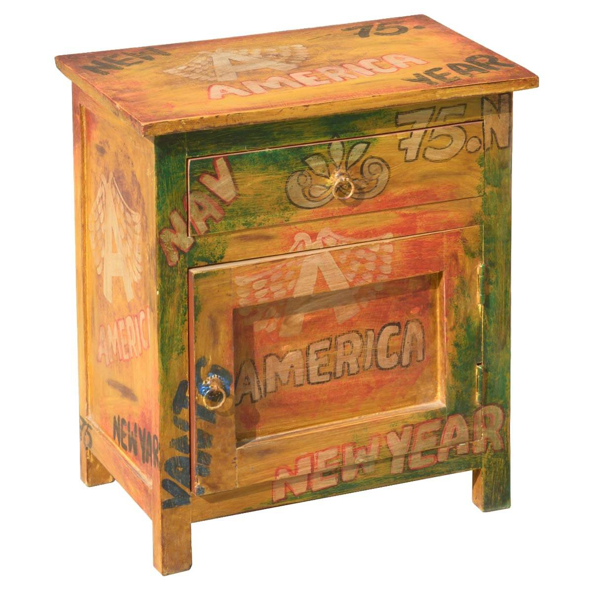 Pop Art Mod Americana Hand-Painted Mango Wood 1 Drawer Nightstand