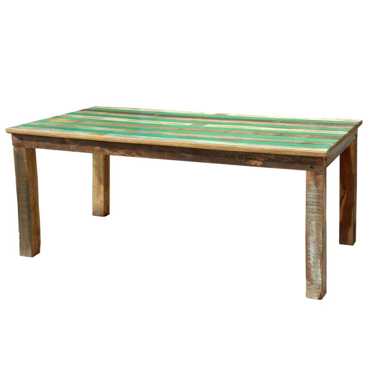 Appalachian Rustic Reclaimed Wood Striped Top Dining Table