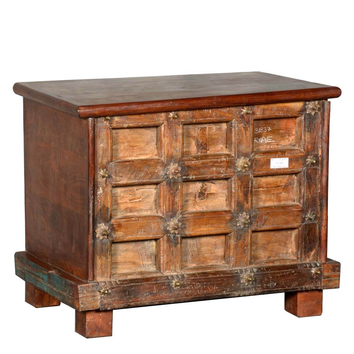 Beaufort Rustic Reclaimed Wood Gothic Mini Storage Trunk Chest