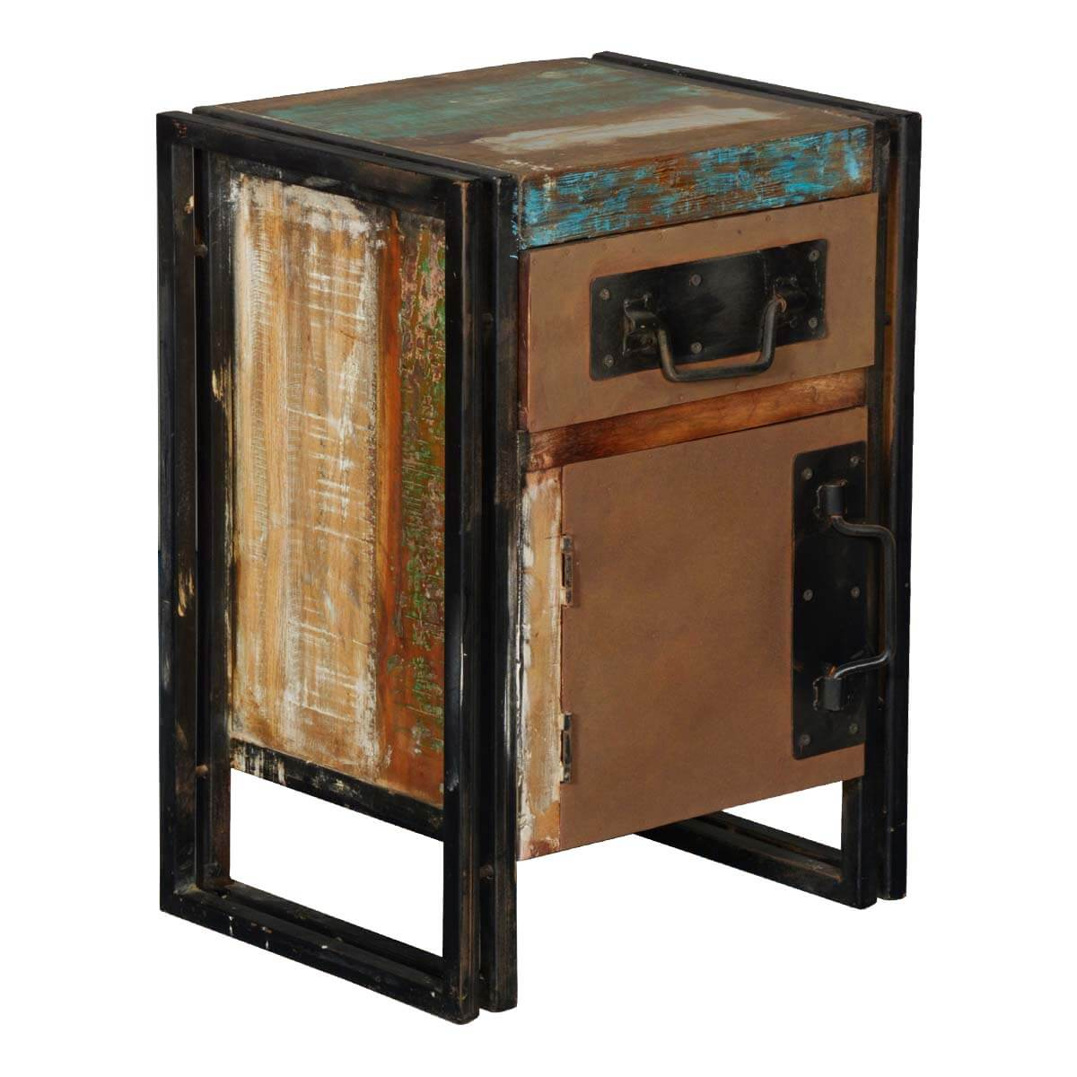 Harlan Reclaimed Wood 1 Drawer Industrial Nightstand