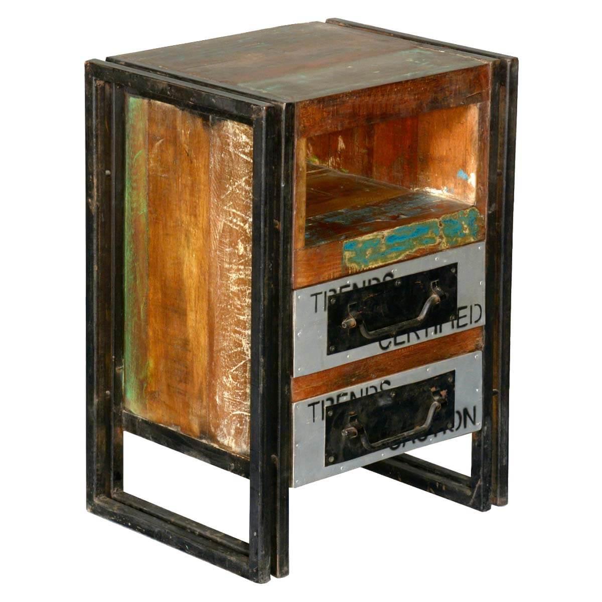 Winona Reclaimed Wood 2 Drawer Industrial Cubby Nightstand