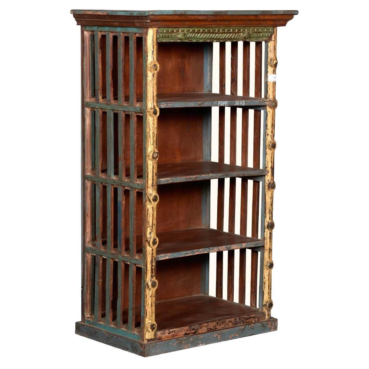 Lakeridge Rustic Reclaimed Wood Open Slats Bookcase Curio Unit
