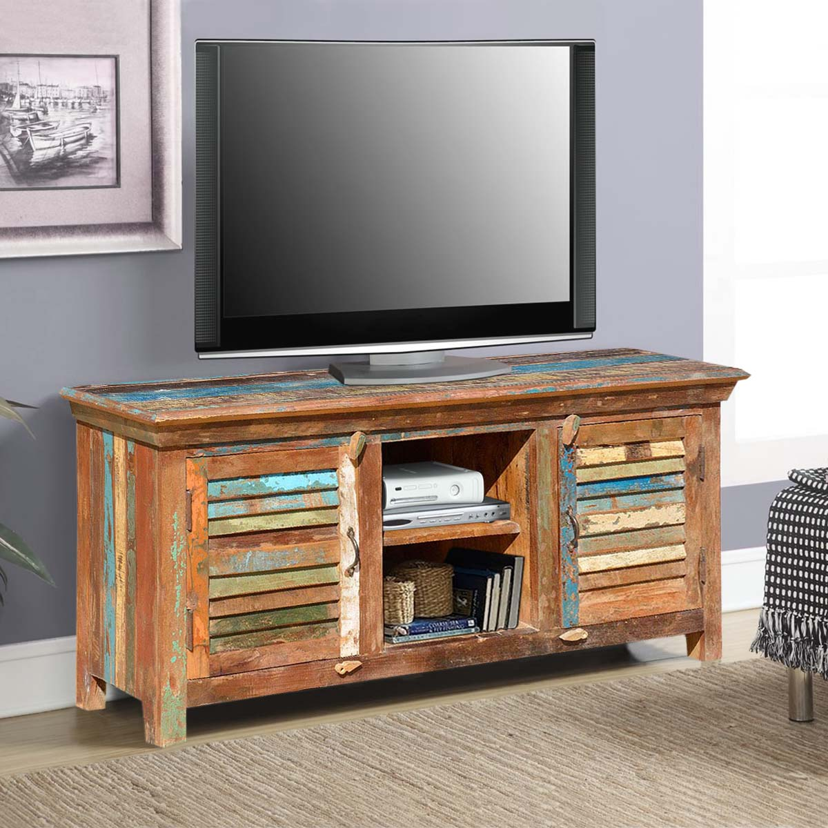 Bertrand Rustic Primitive Reclaimed Wood Tv Stand Media Cabinet