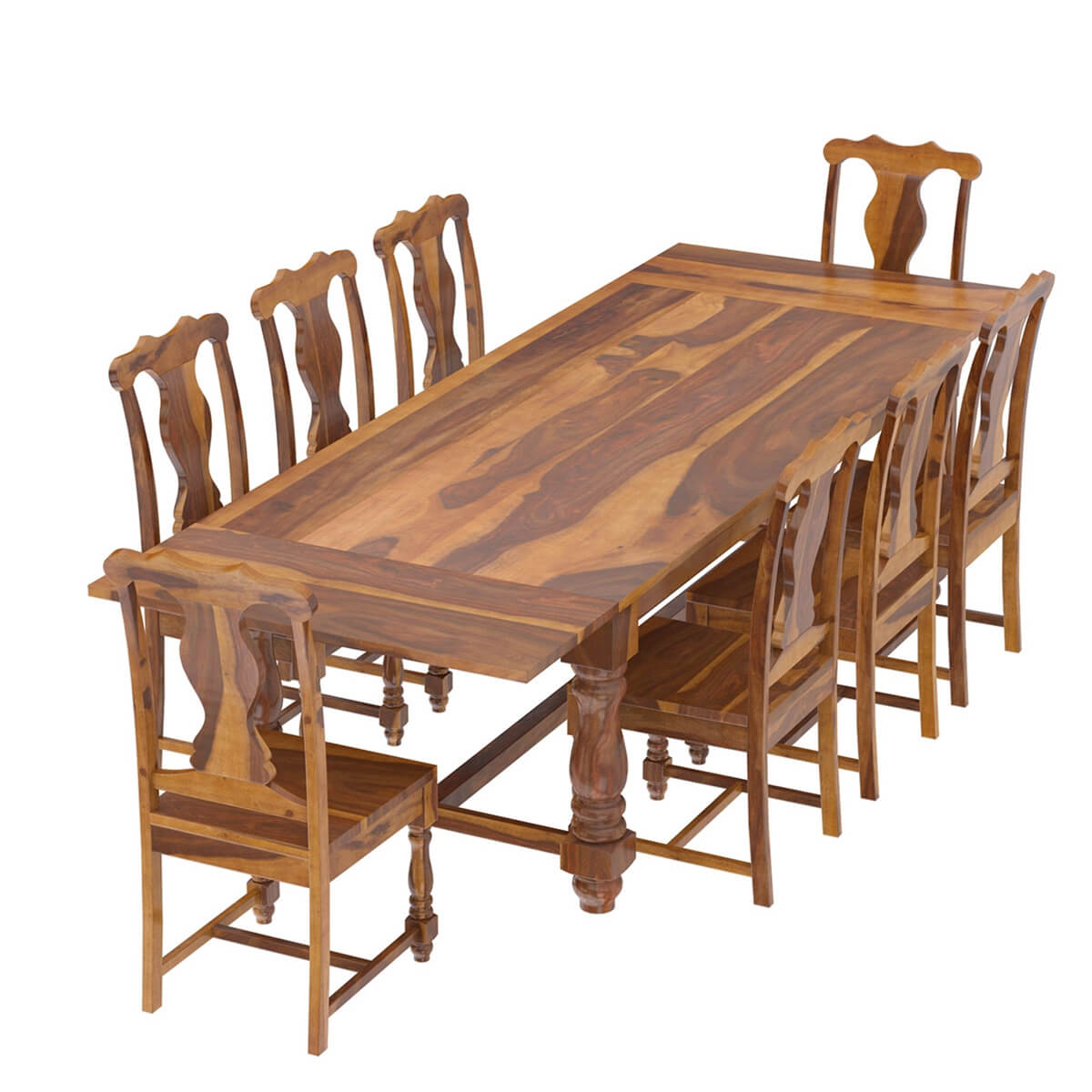 Extendable Dining Set In Rustic Brushed Solid Oak: Rustic Solid Wood Extendable Dining Table & Chair Set