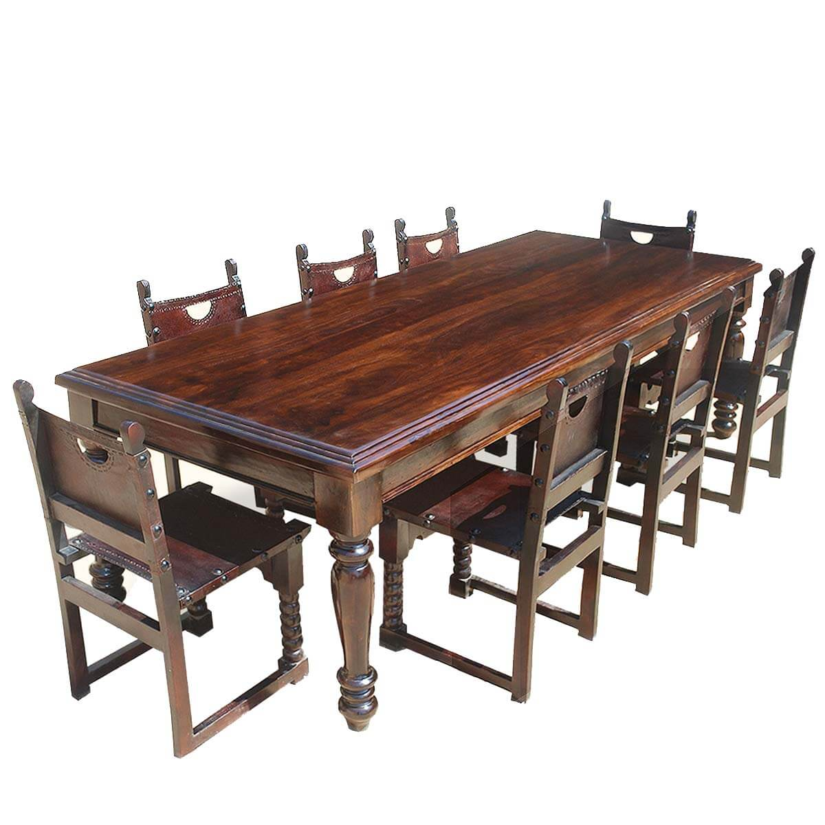 Large Rustic Solid Wood Dining Room Table W 8 Leather Chairs Set
