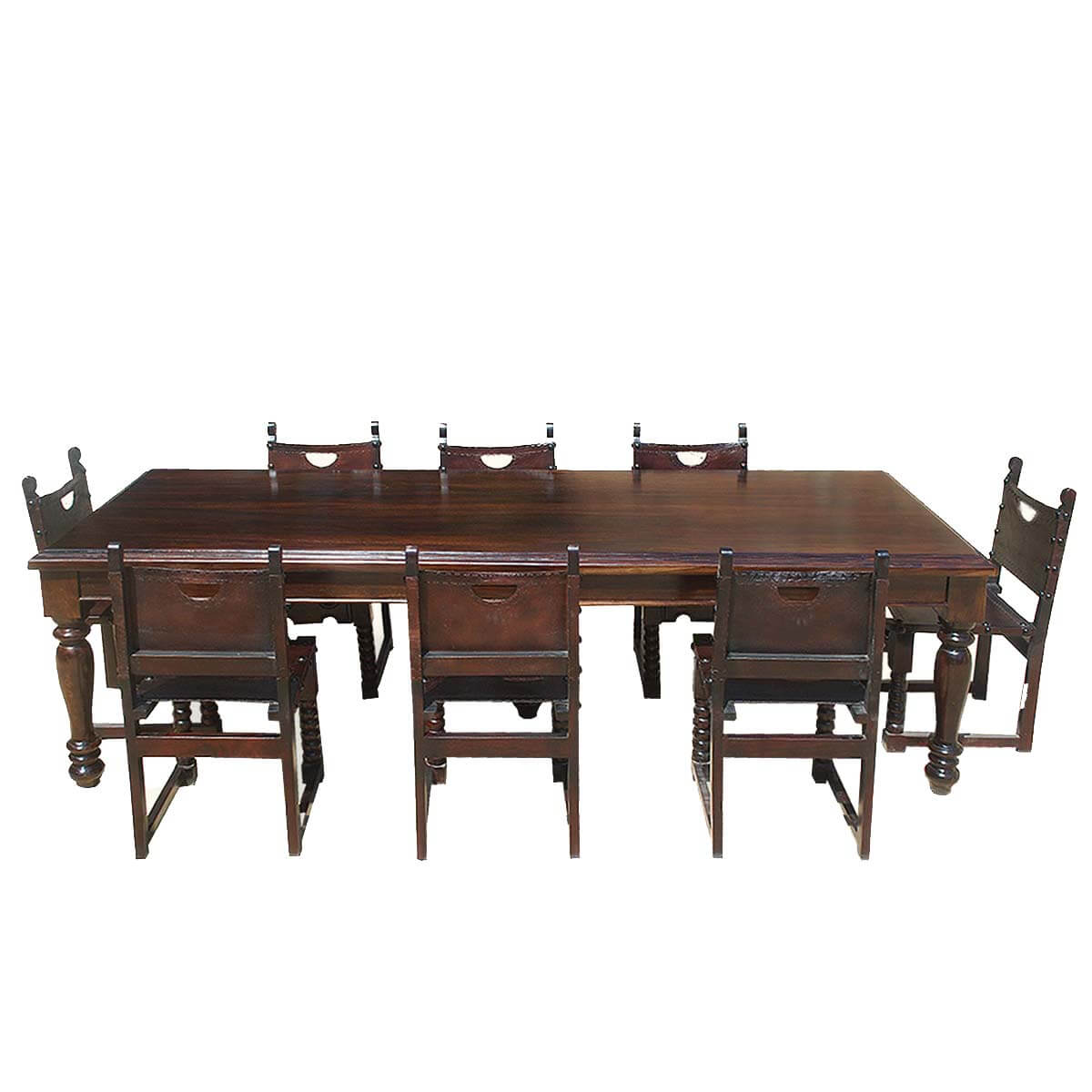 Rustic Dining Room Table Set: Large Rustic Solid Wood Dining Room Table W 8 Leather