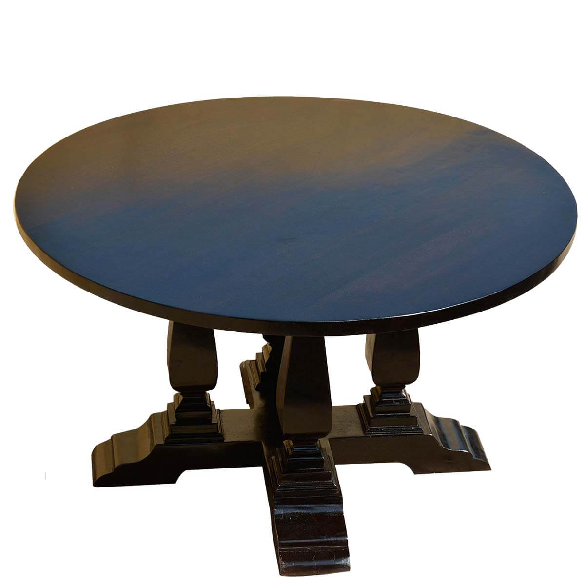 Black Solid Wood Cruciform Base Baluster Sutton 60 Round Dining Table