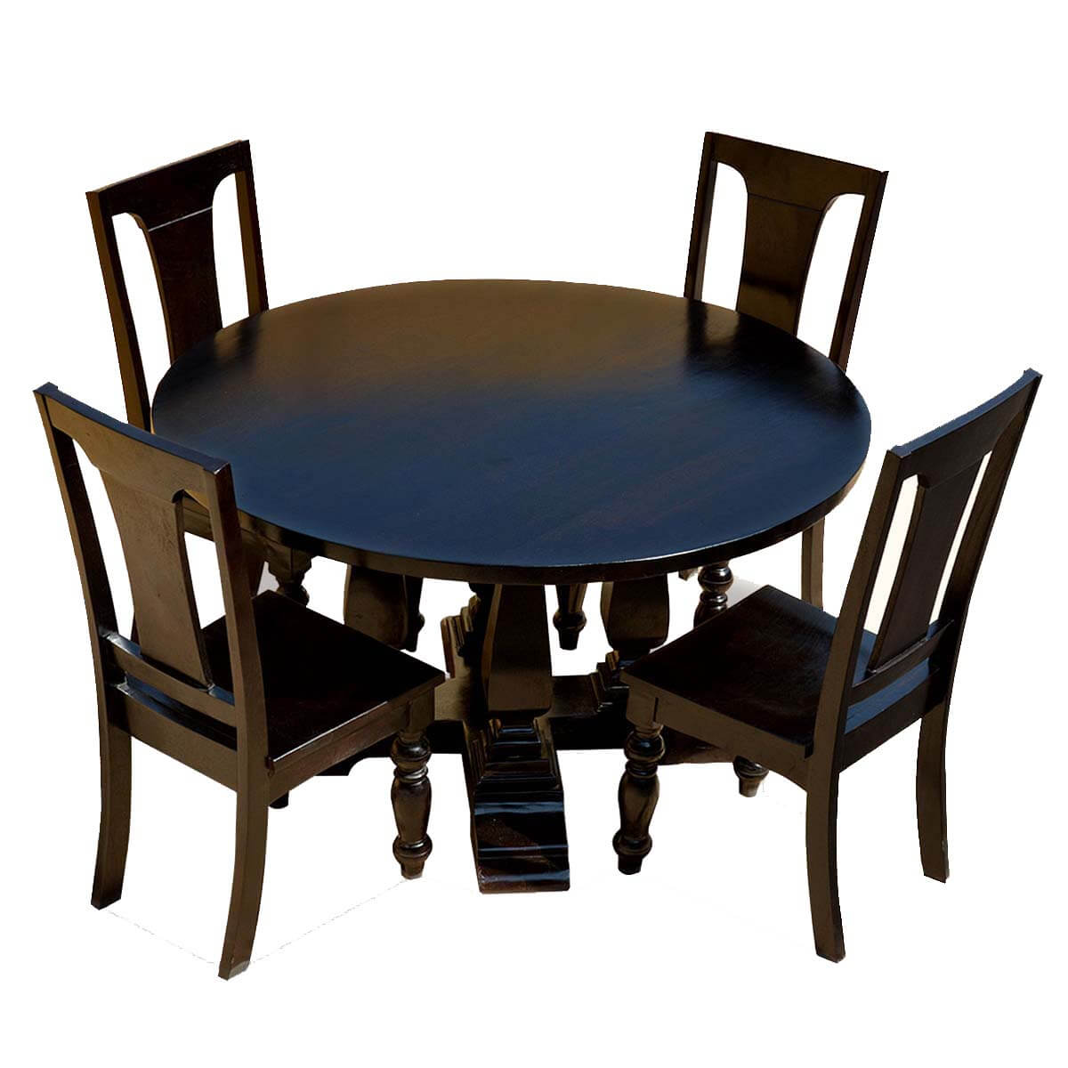 black solid wood cruciform base baluster sutton 60 round dining table. Black Bedroom Furniture Sets. Home Design Ideas