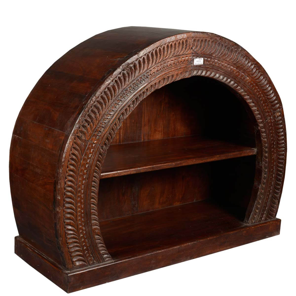 Delano 2 Open Shelf Rustic Solid Wood Arched Bookcase