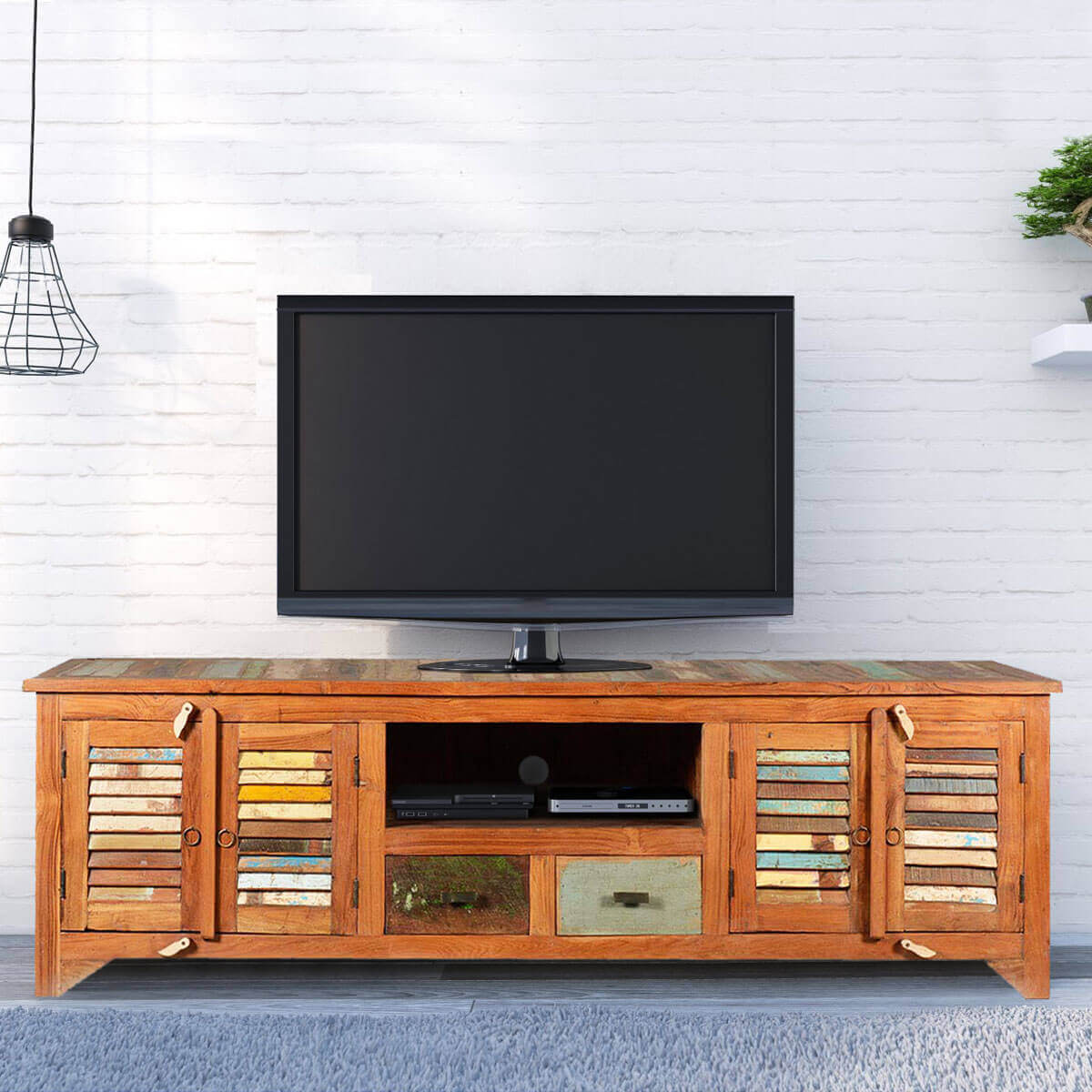 low priced 53d86 9921f Rustic Reclaimed Wood Rainbow Shutter Doors TV Stand Media Console