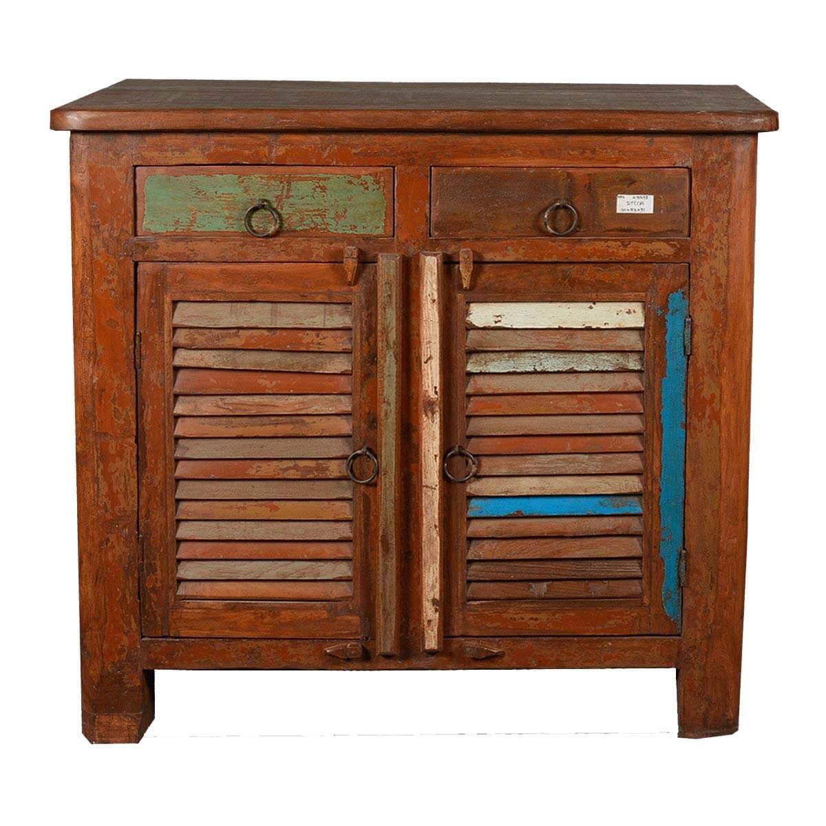 Allendale Rustic Reclaimed Wood Shutter Door 2 Drawer Storage Cabinet