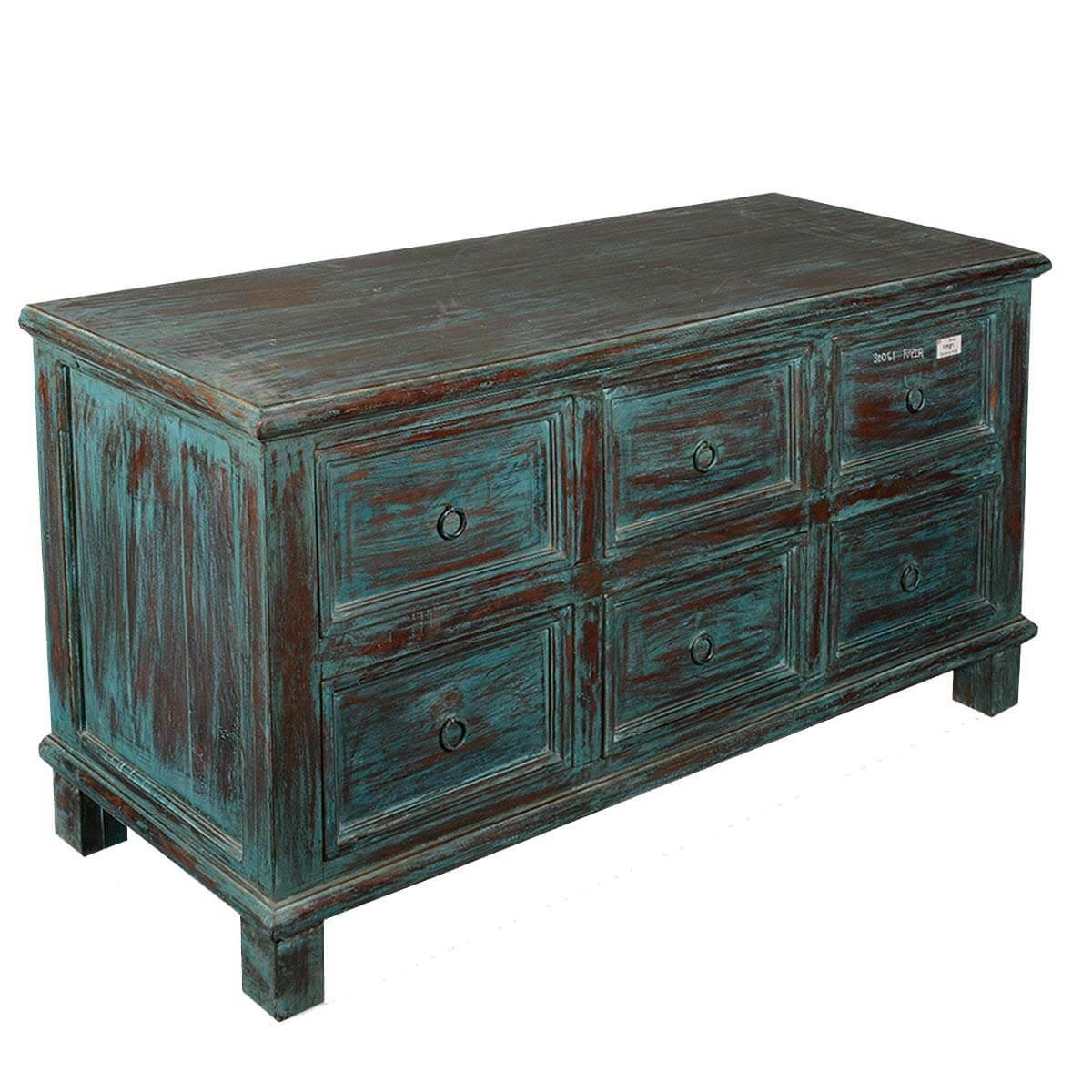 Appalachian Distressed Solid Reclaimed Wood Bedroom Dresser w 6 Drawer