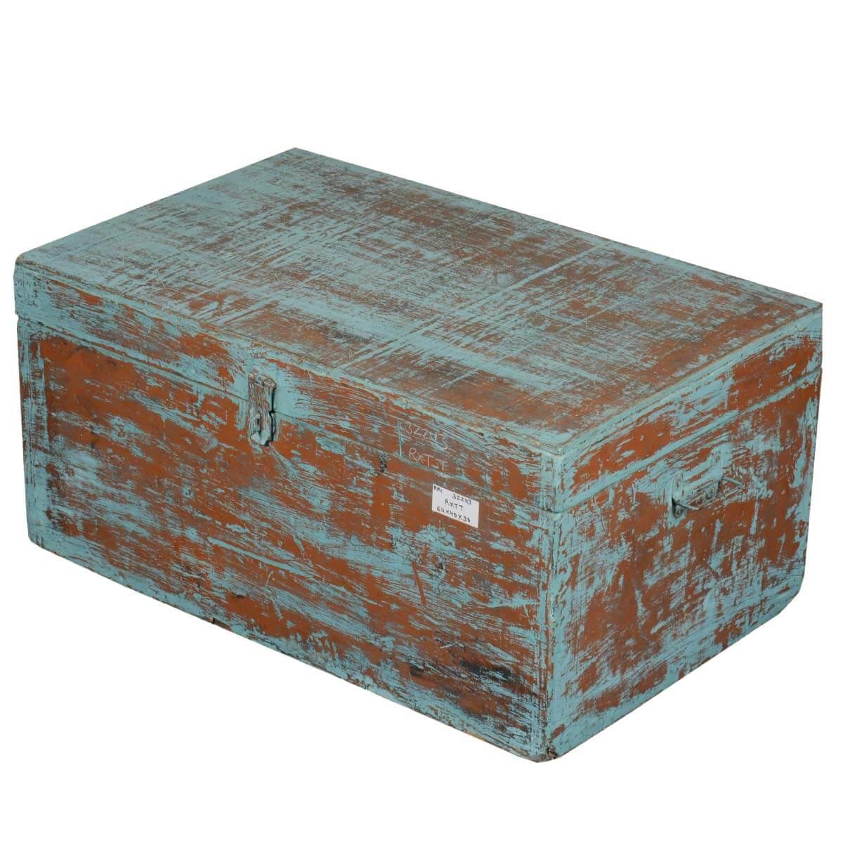 Obetz Distressed Blue Reclaimed Wood Storage Trunk